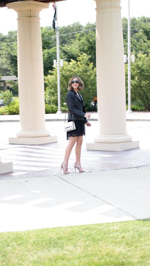 Date Night Chiffon Dress Leather Jacket And Neutral