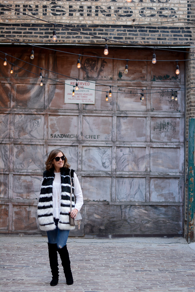 forever 21 striped faux fur vest, boho chic, chloe dupe, chloe faye bag, chloe faye dupe, dressing chic in the winter, how to stay warm and look great, wishes & reality