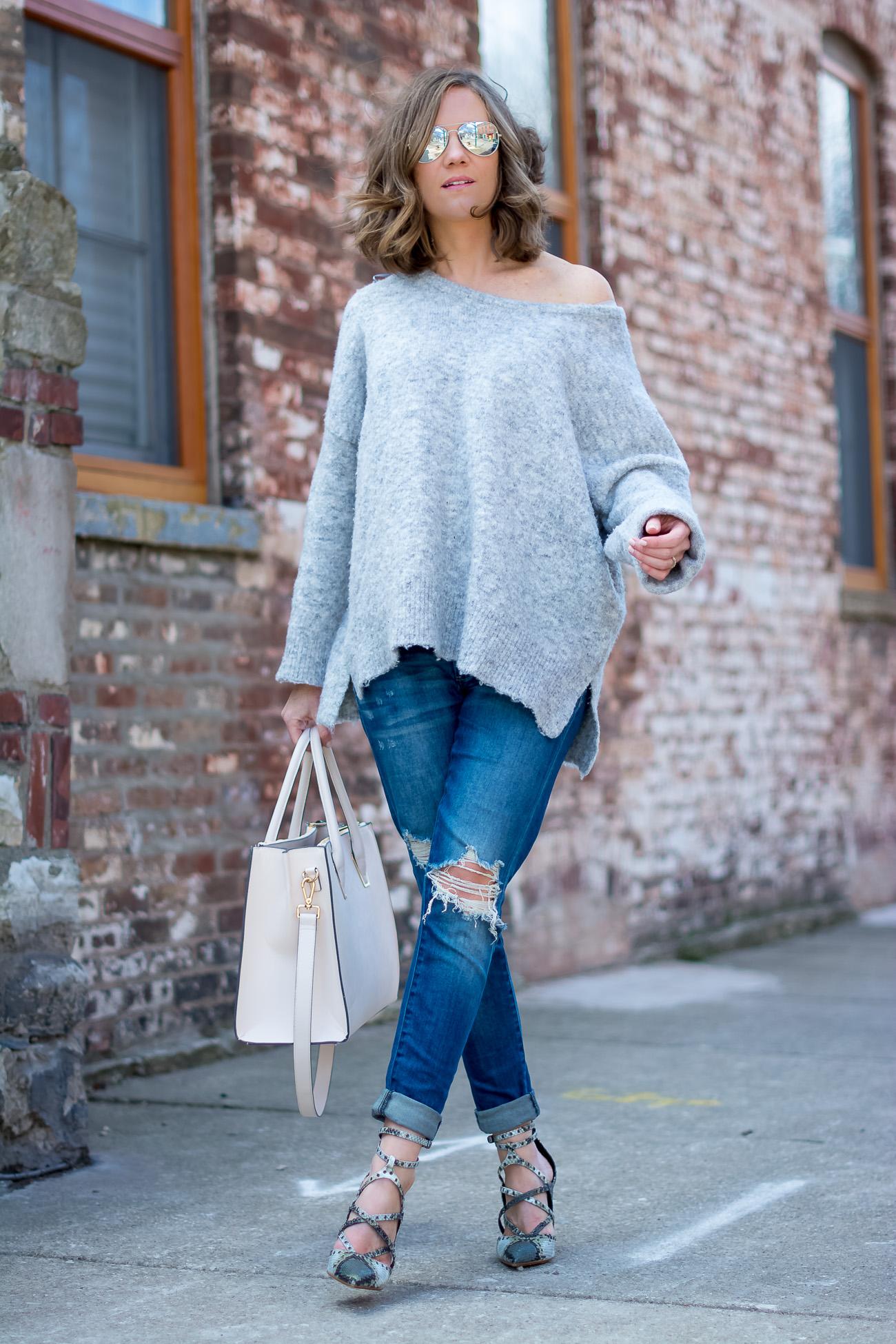 grey-off-the-shoulder-sweater-boyfriend-jeans-snakeskin-heels ...