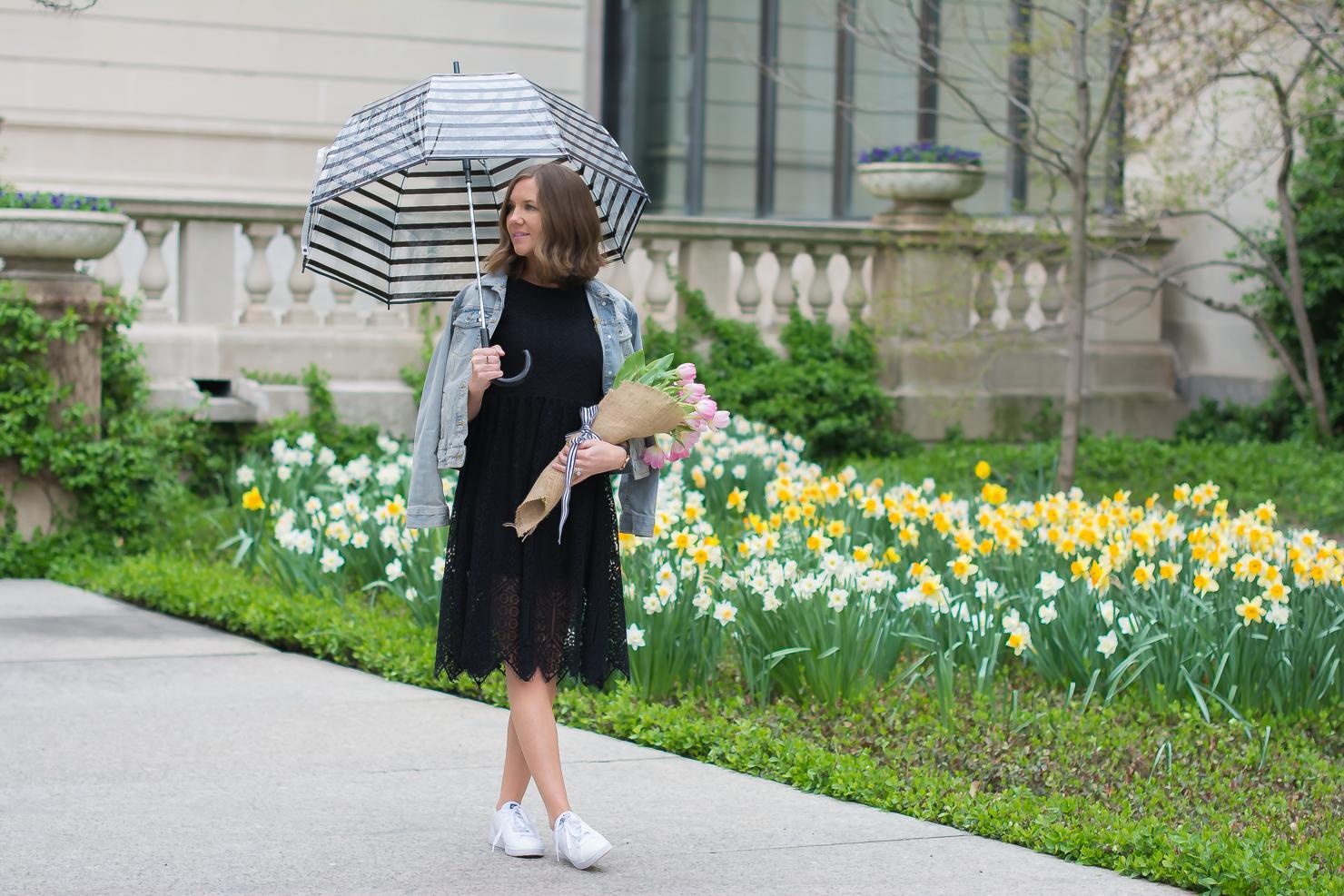 2807a432b2 H&M-black-lace-midi-dress-merona-denim-jacket-adidas-neo-clean ...