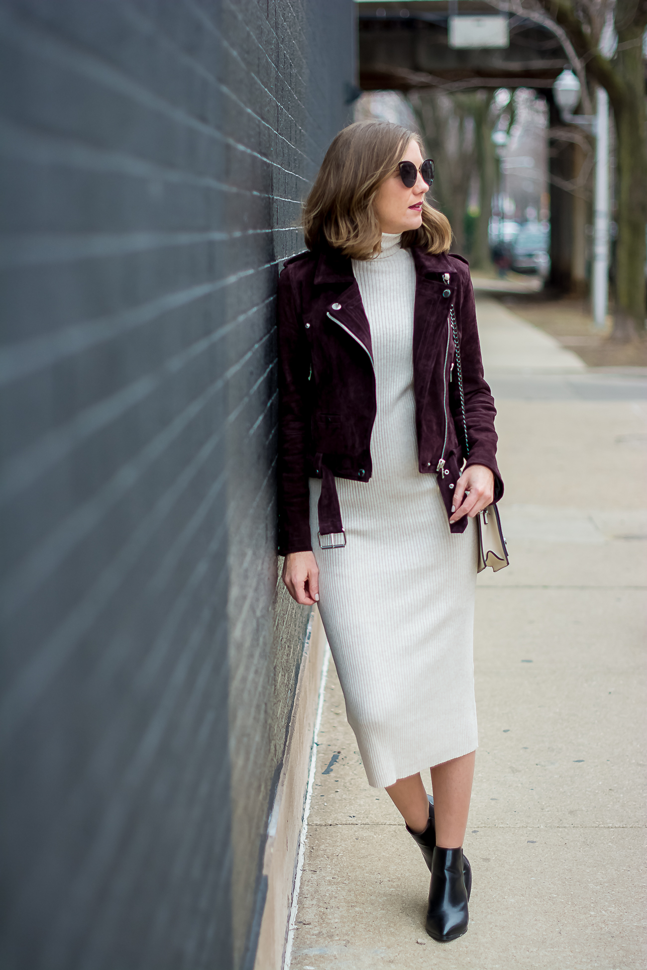 Zara Rib Knit Bodycon Midi Dress Blank Nyc Burgundy Suede Moto