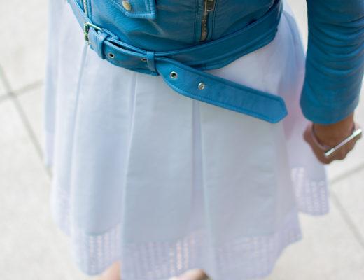 zara-blue-cropped-moto-jacket-white-eyelet-midi-skirt-chicago-terrace-lace-up-heels-peninsula-hotel
