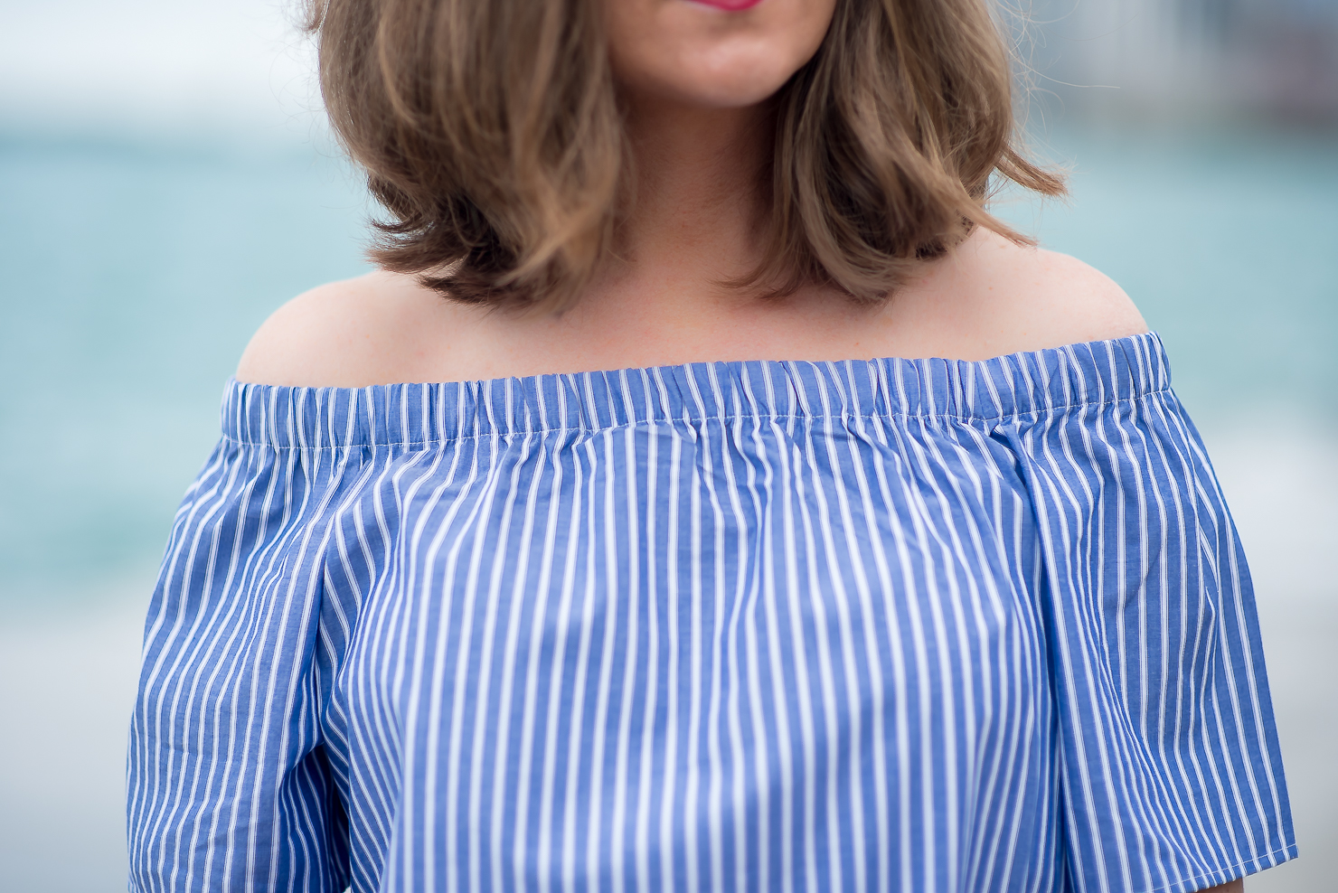 blue off shoulder top