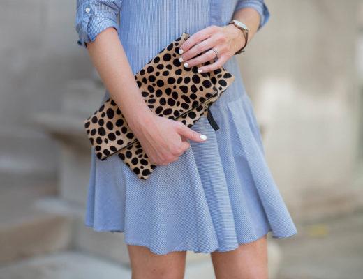 clare v keopard clutch, daniel wellington watch, noir jewelry 2 finger pearl ring, transitional fall fashion