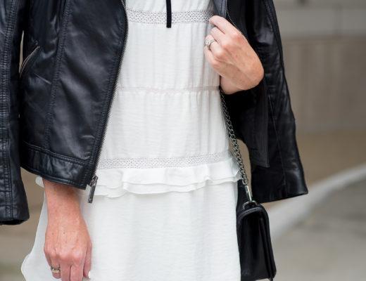 who-what-wear-for-target-white-ruffled-dress-black-moto-jacket-velvet-ribbon-bow-choker-transitioning-the-little-white-boho-dress-for-fall