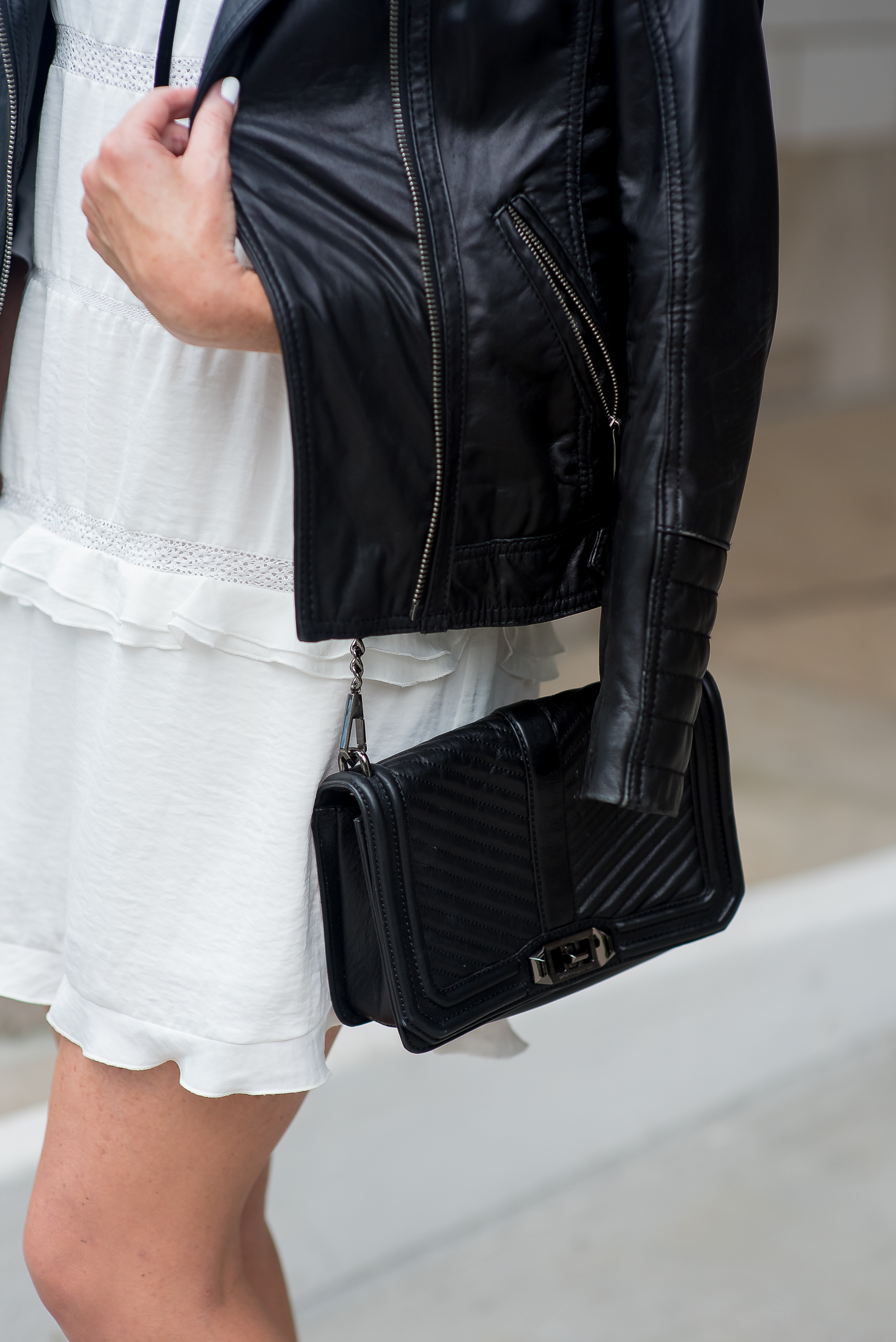 Leather jacket target - Who What Wear For Target White Ruffled Dress