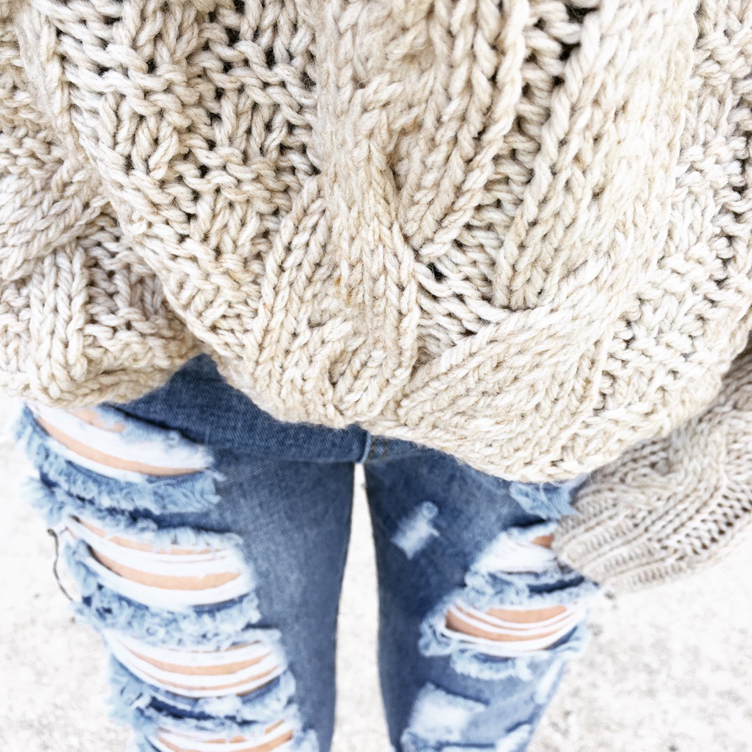 Cozy Fall Outfit Hm Oversized Cable Knit Sweater Distressed Jeans