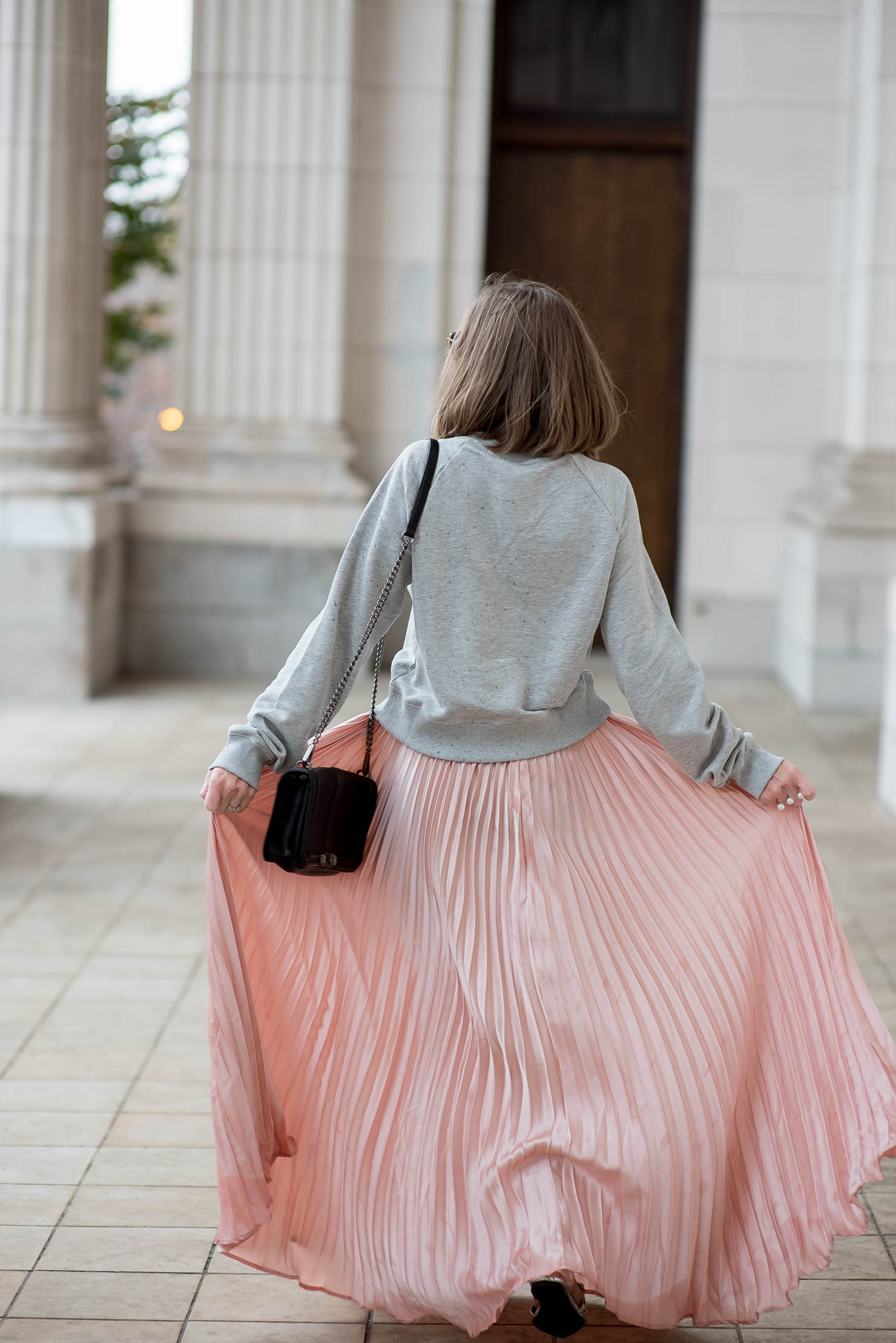 cozy glam  pink pleats for the holidays