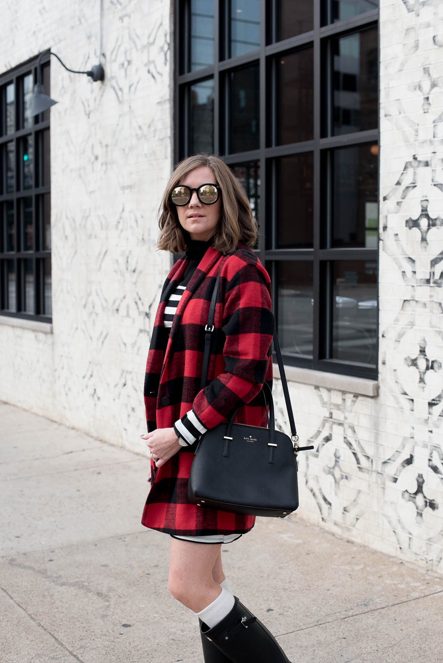 Black And White Striped Mini Dress And Red Buffalo Plaid Coat With