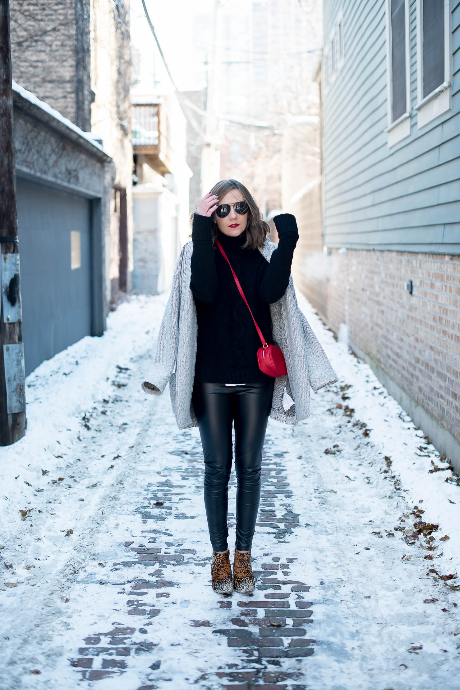 How to Wear Leather Leggings in the Winter