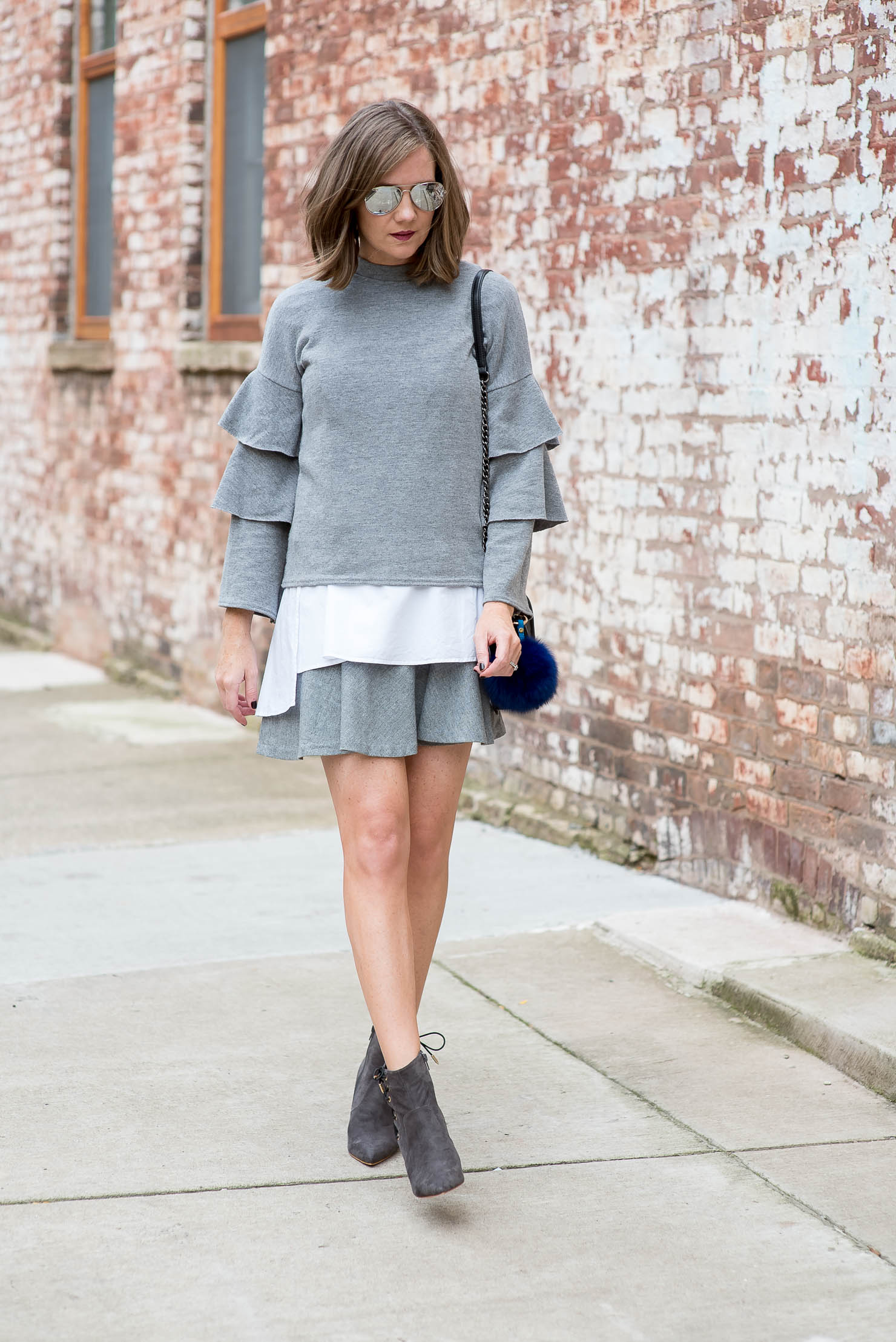 structured-grey-ruffled-outfit-grey-layered-look-monochromatic-style-shein-ruffle-sleeve-sweater