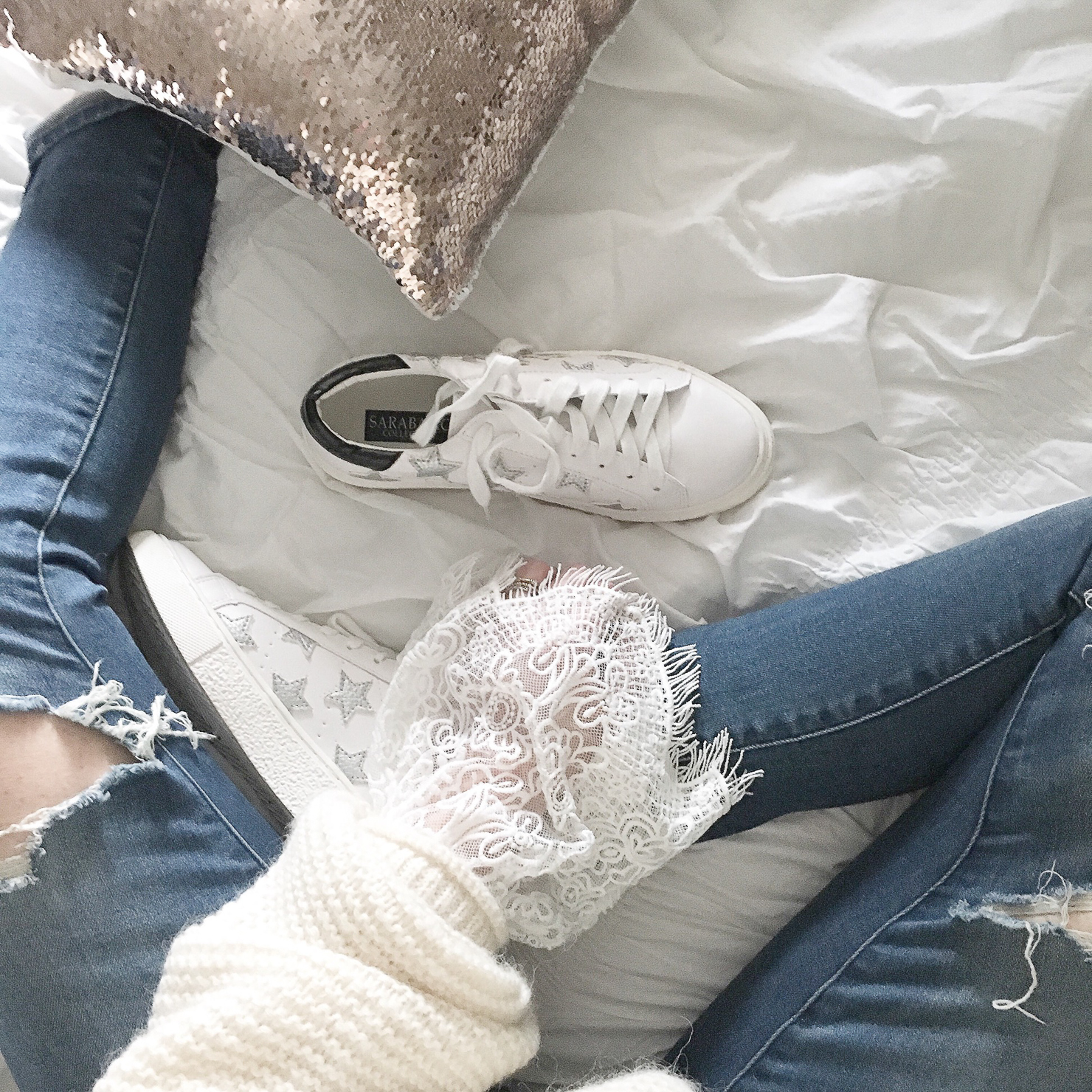 instagram-cozy-sweater-lace-details-sequin-throw-pillow-star-sneakers