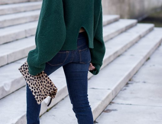 genuine-people-oversized-green-sweater-step-hem-jeans-cropped-jeans-and-sweater-steve-madden-nude-ankle-strap-block-heels-my-winter-uniform-clare-v-leopard-clutch