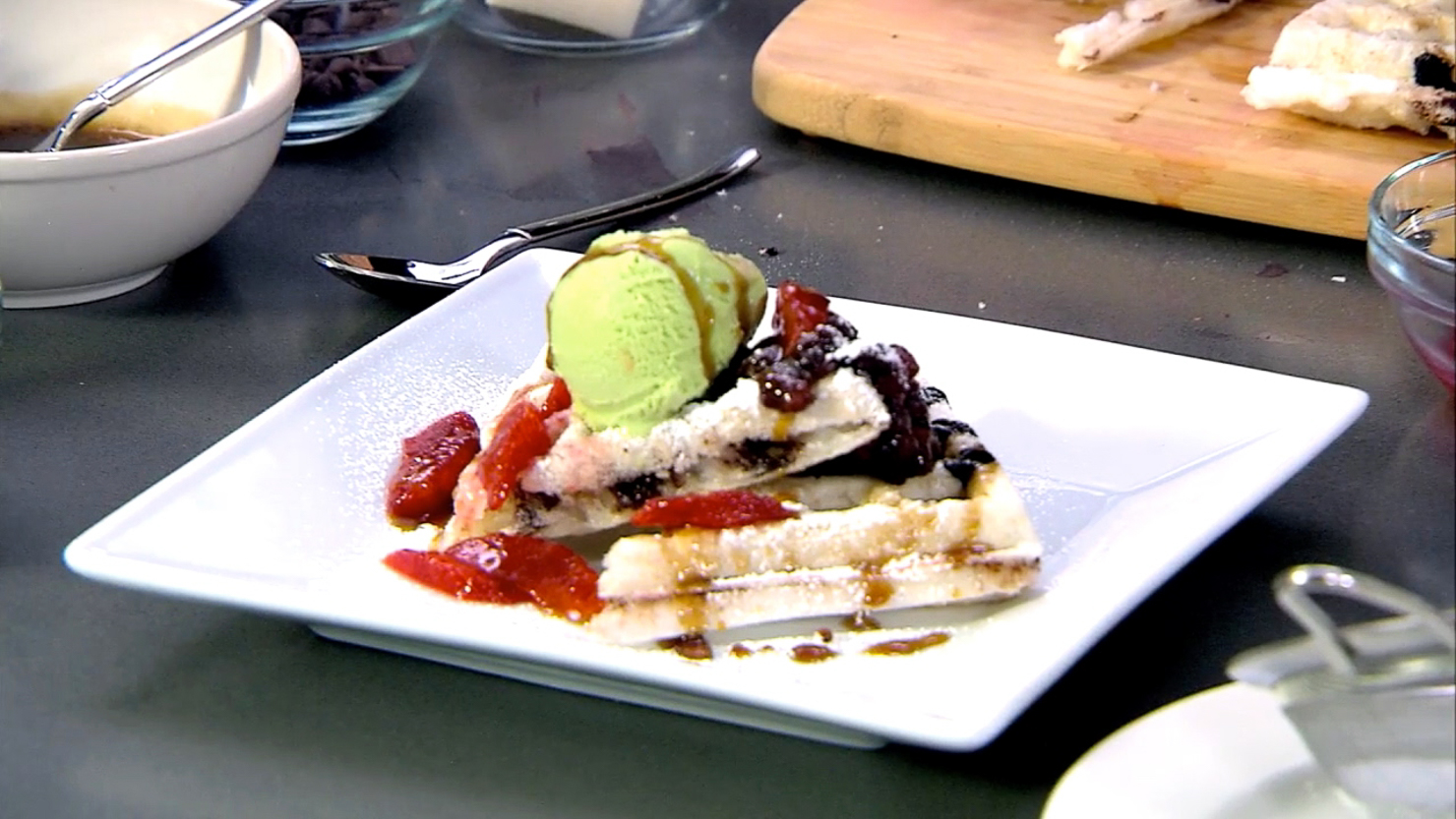 Chef Takashi Yagihashi, Mochi Chocolate Chip Waffle with Sweet Red Beans, Green Tea Ice Cream, and Blood Orange