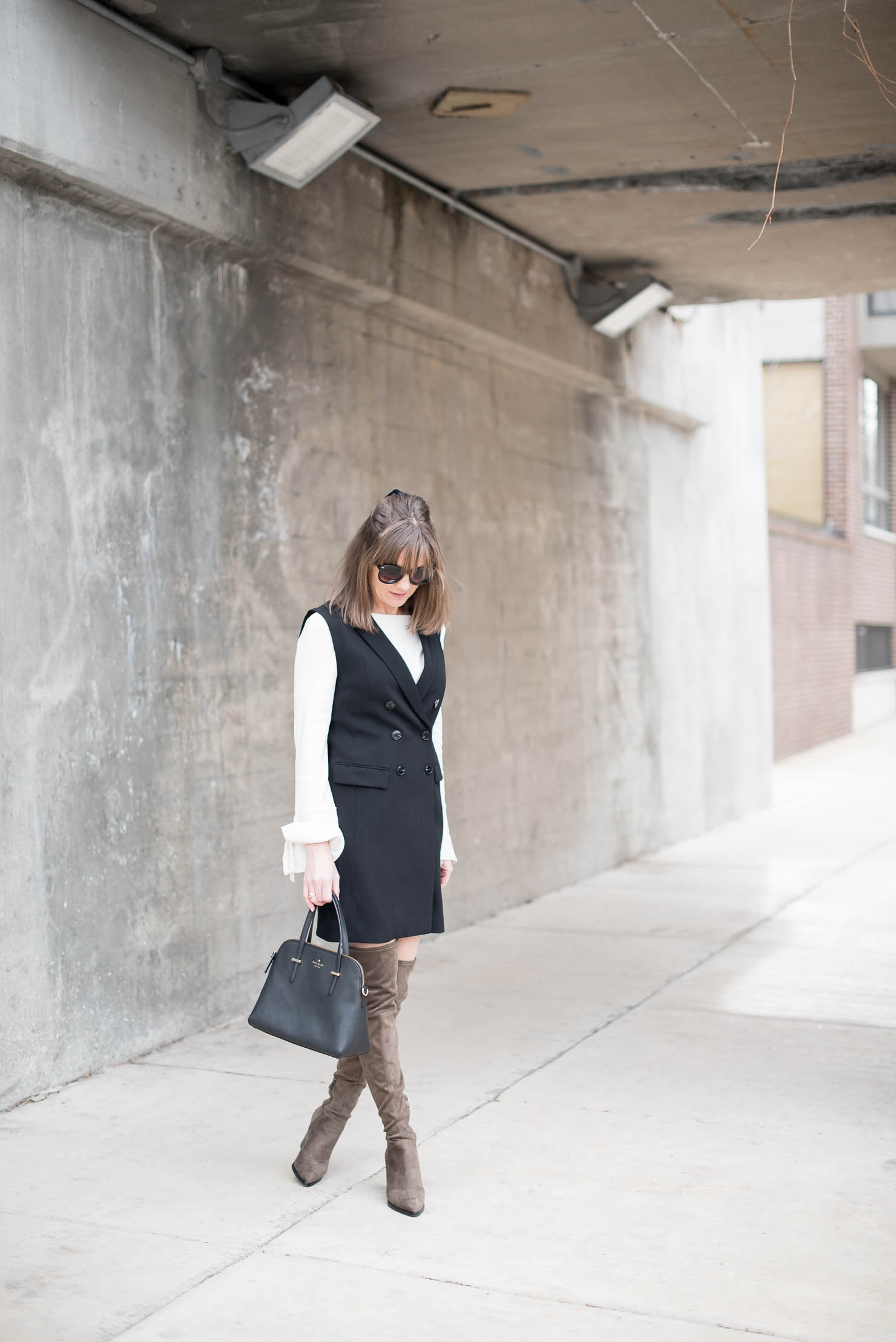 structured-meets-vest-sexy-polished-h&m-double-breasted-sleeveless-trench-vest-bell-sleeves-tie-cuffs-marc-fisher-alinda-boots-best-over-the-knee-boots