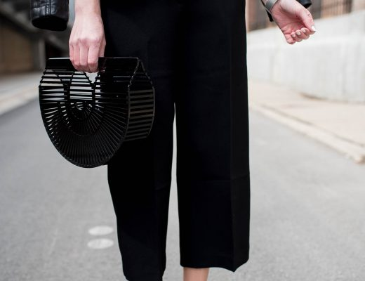 how-to-style-black-crop-pants-culotte-outfit-idea-edgy-spring-outfit-black-cult-gaia-clutch-the-studded-skinny-belt