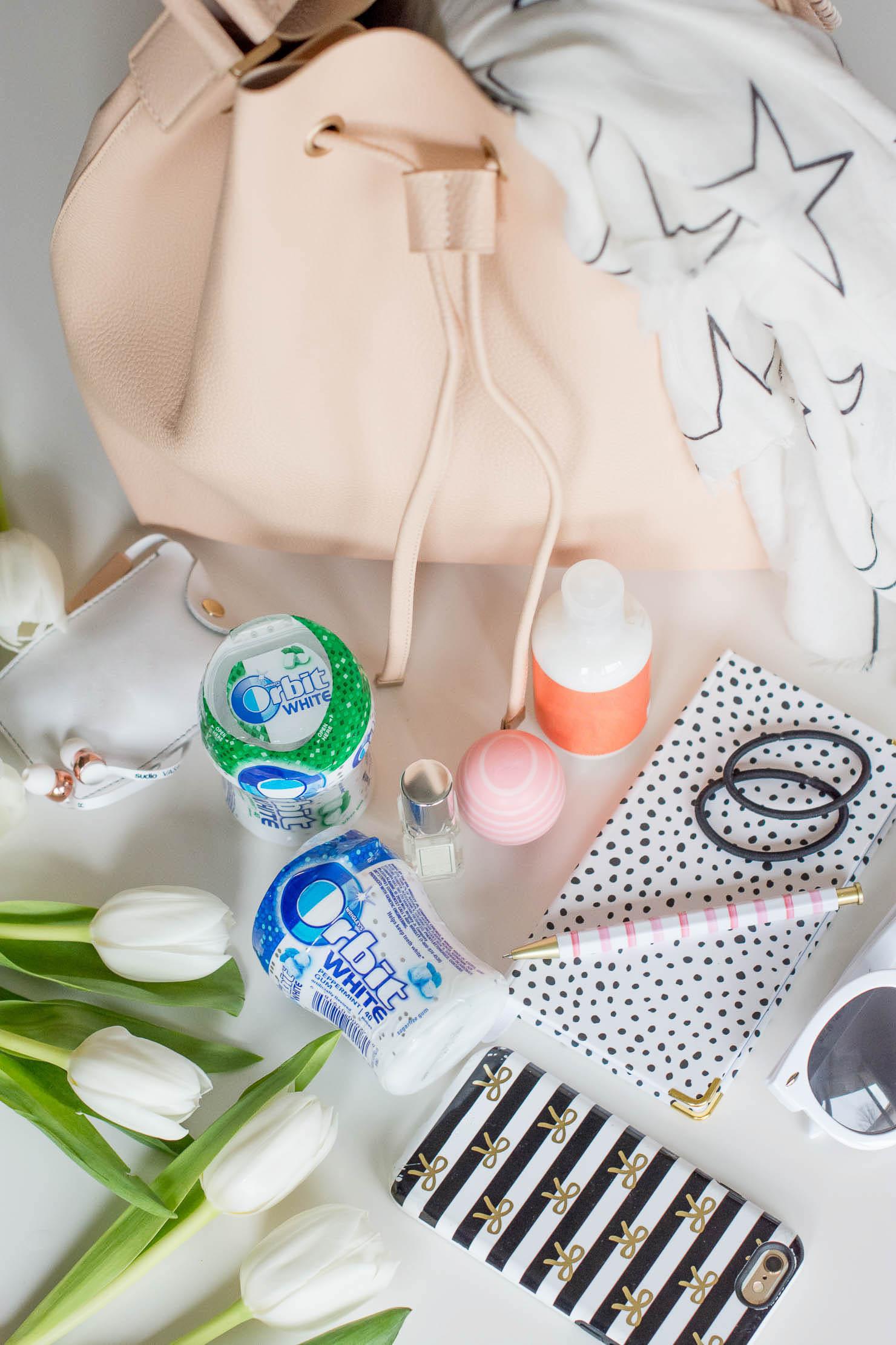 orbit-gum-whats-in-my-bag-spring-2017-blush-bucket-bag-zara-star-print-scarf