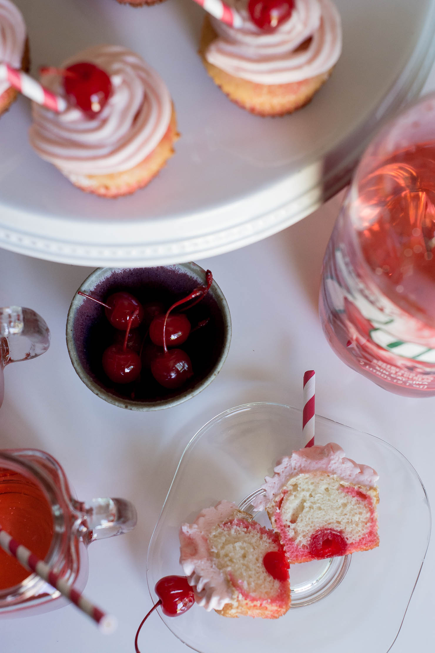 adorable shirley temple cupcakes with maraschino cherries and cherry 7up