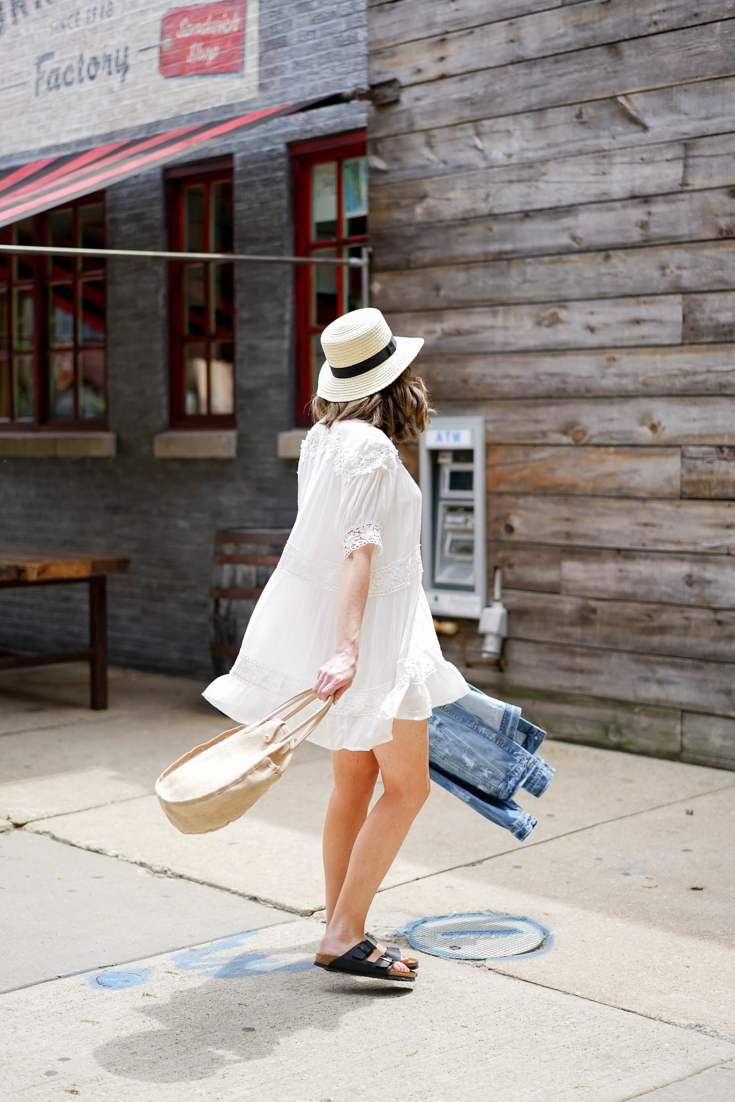 white lace dress, lace detail swing dress, chicago eats, target who what wear weave circle bag, summer outfit, panama hat, corned beef factory