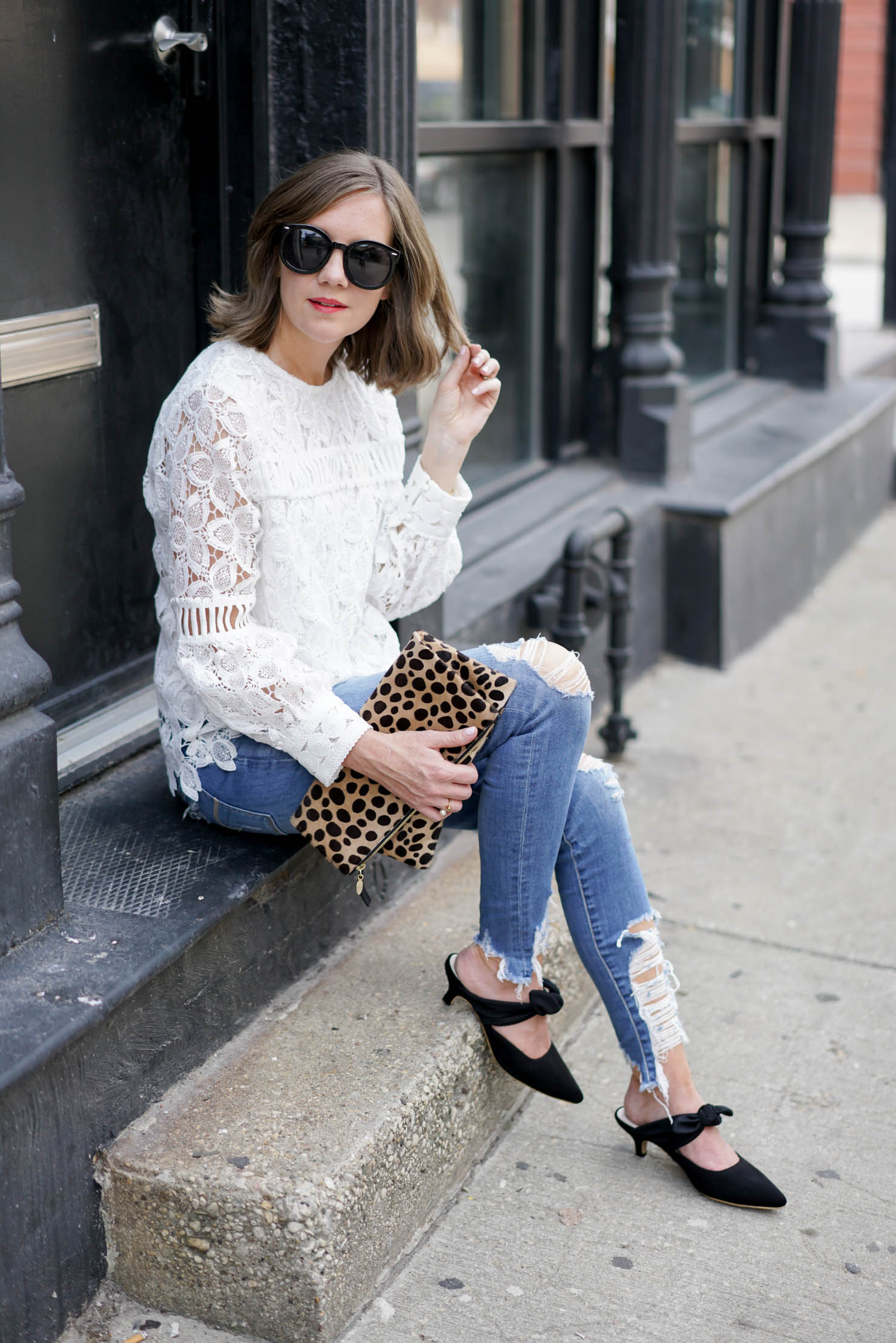 How To Dress Down A Lace Top The Row Coco Mules Look For
