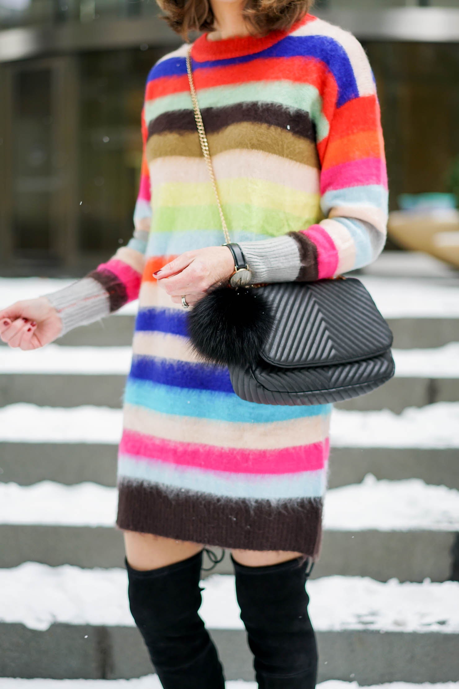 festive striped sweater dress, budget friendly holiday dress, comfy and cute holiday outfit