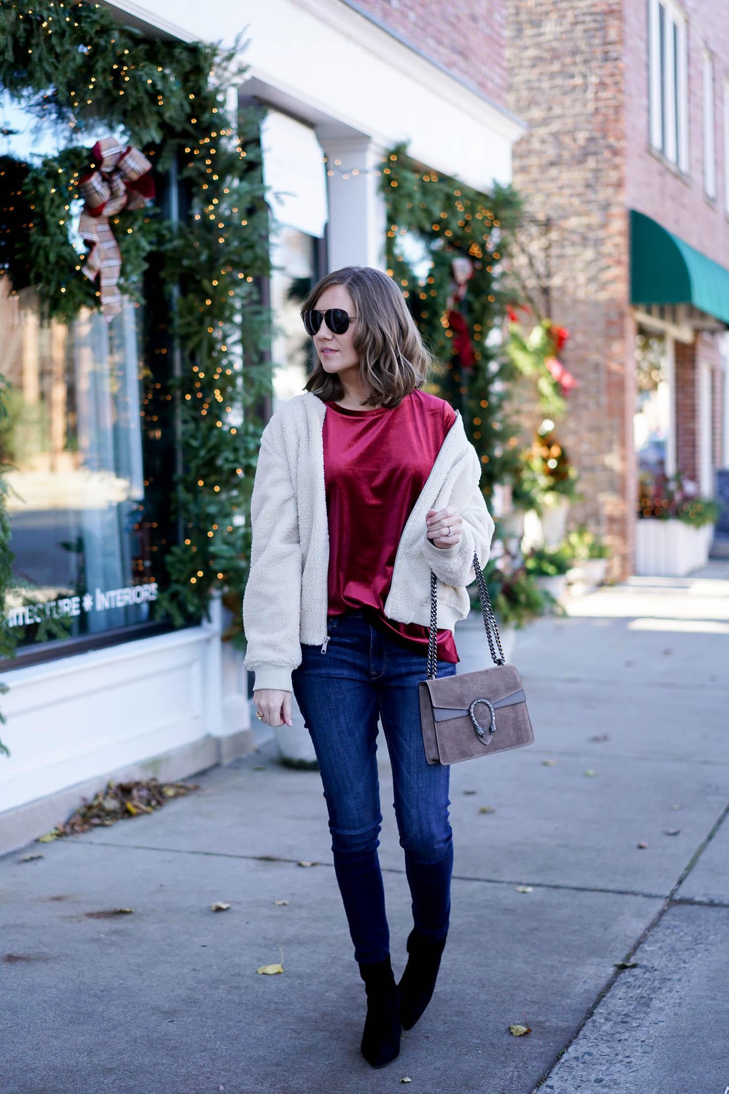 casual velvet outfit, old navy velvet tee, old navy shearling bomber jacket, how to incorporate velvet into your wardrobe, the perfectly draped velvet tee