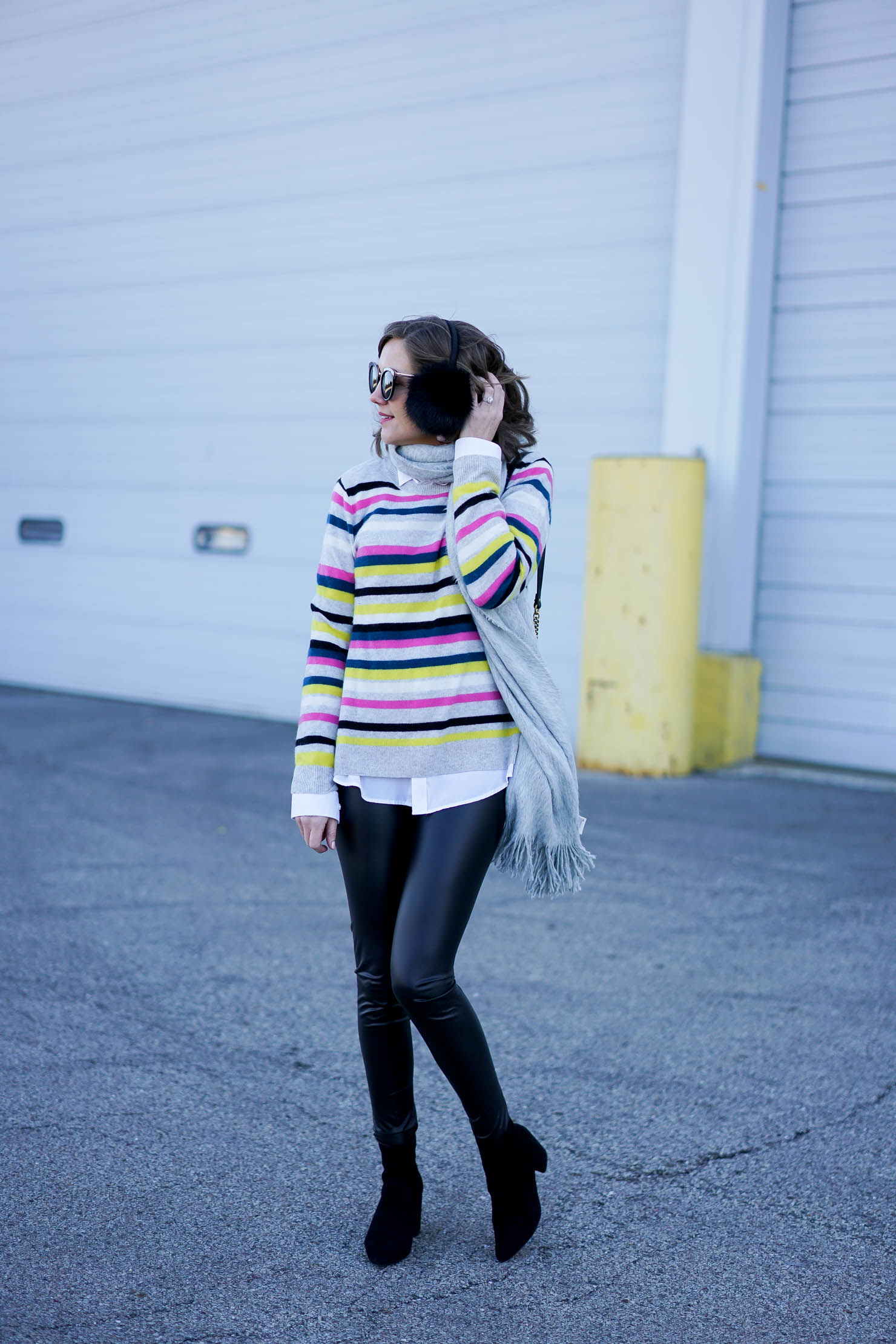 halogen striped cashmere sweater, age appropriate way to wear leather leggings, holiday outfit cozy, leather leggings outfit, earmuffs outfit
