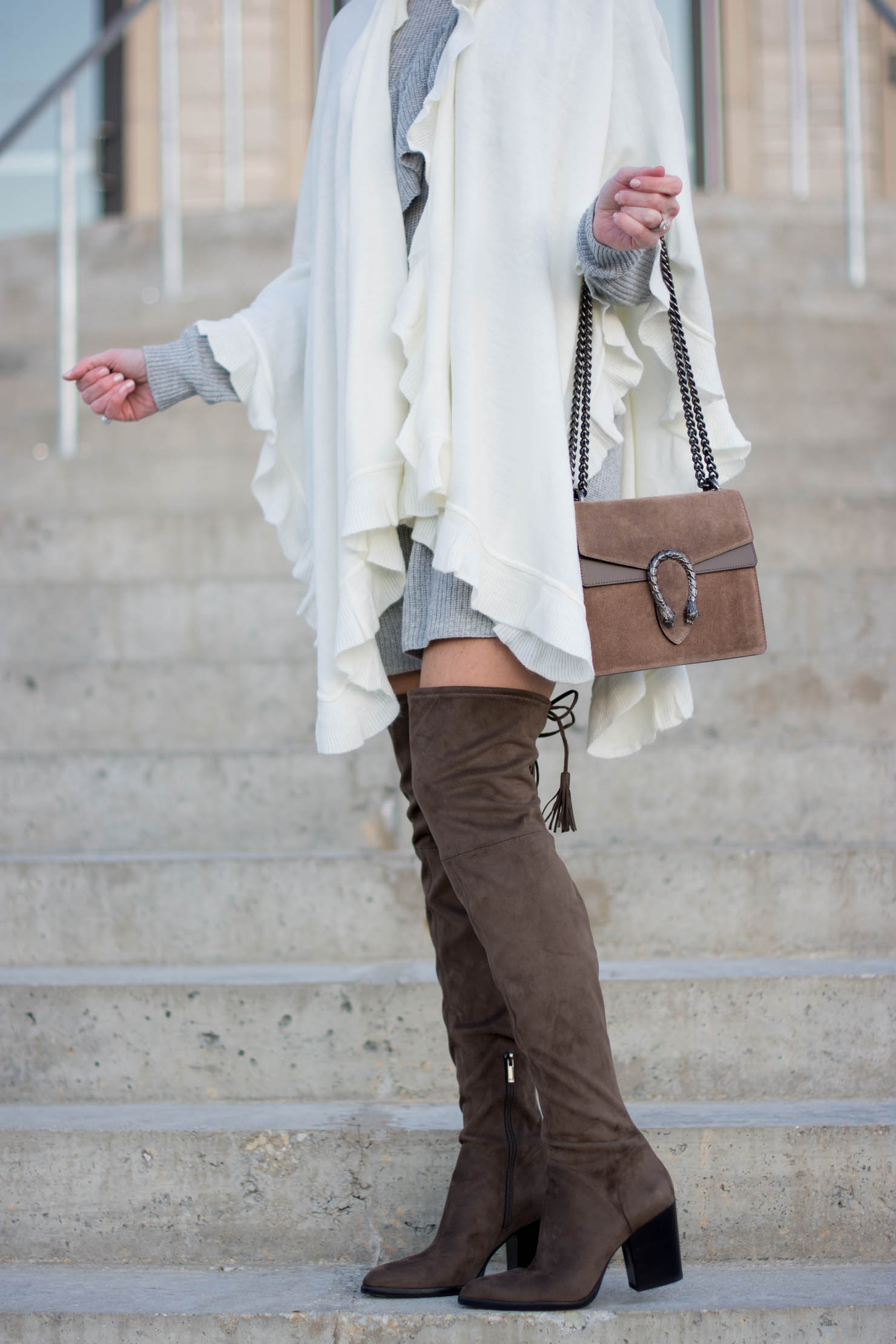 A Cozy Neutral Holiday Outfit And Ruffled Knits Wishes