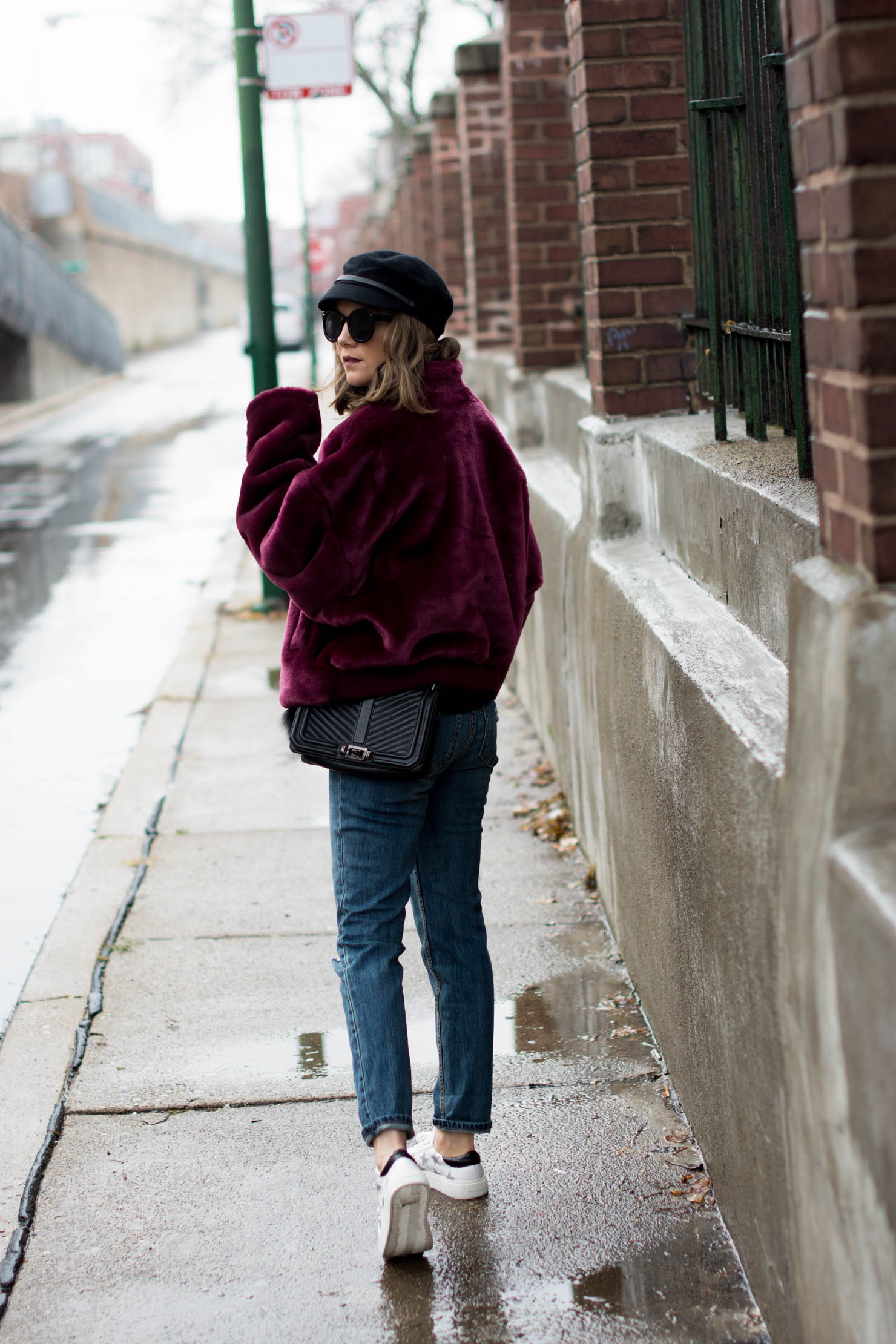 burgundy free people faux fur bomber, how to stay warm and look chic, the sneakers that elevate any outfit, how to style a graphic sweatshirt