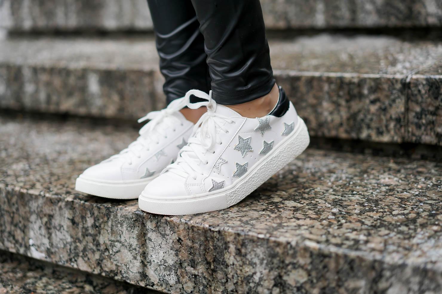 star sneakers, leopard leggings, designer dupe