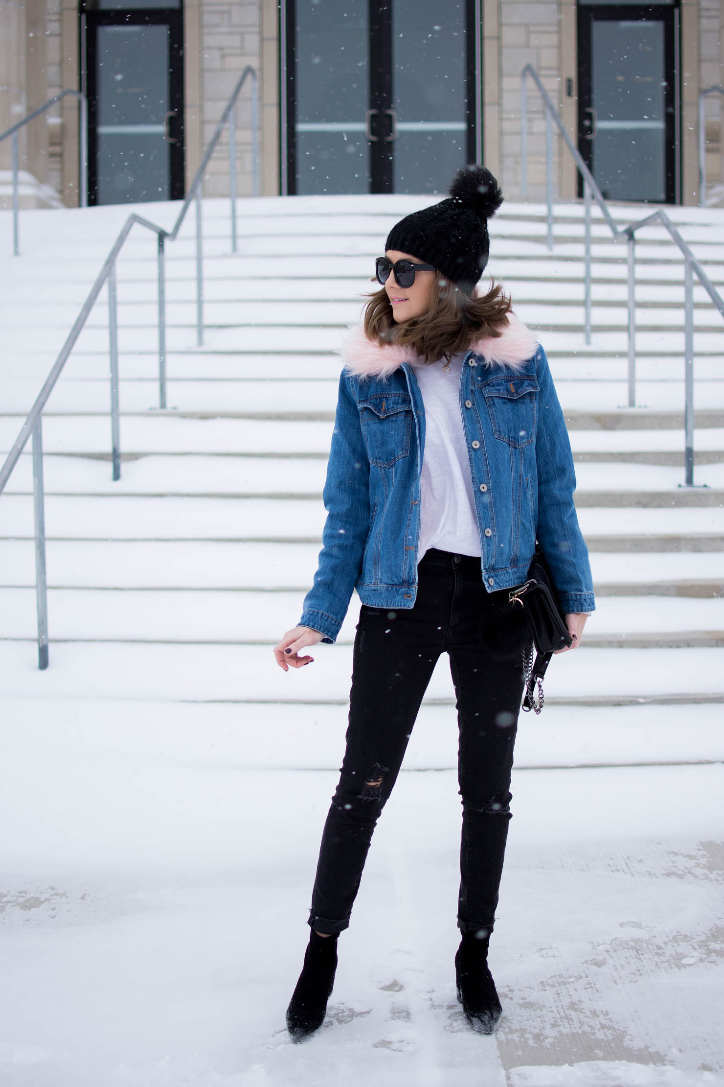 the fur lined denim jacket you need, a denim jacket for all seasons, updated denim jacket for winter, affordable fur trimmed denim jacket, easy and casual winter outfit idea