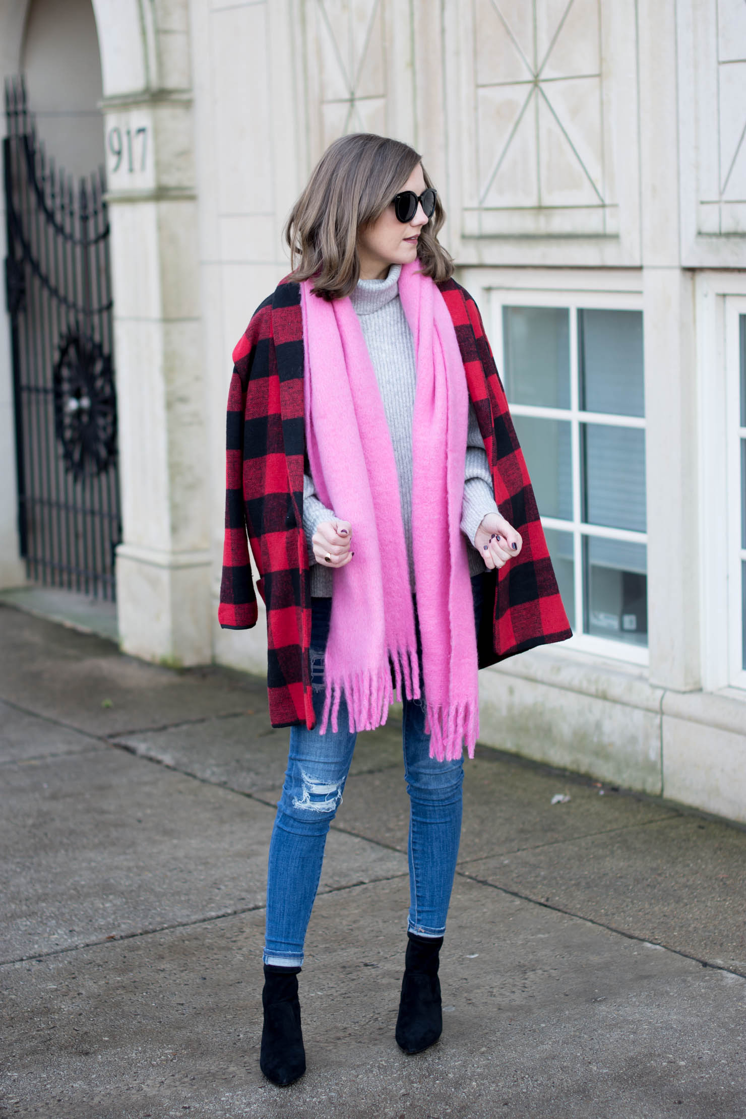 cozy red and pink outfit, valentines day, buffalo plaid checked coat, oversized fuzzy pink scarf, new sleeve trend, balloon sleeves