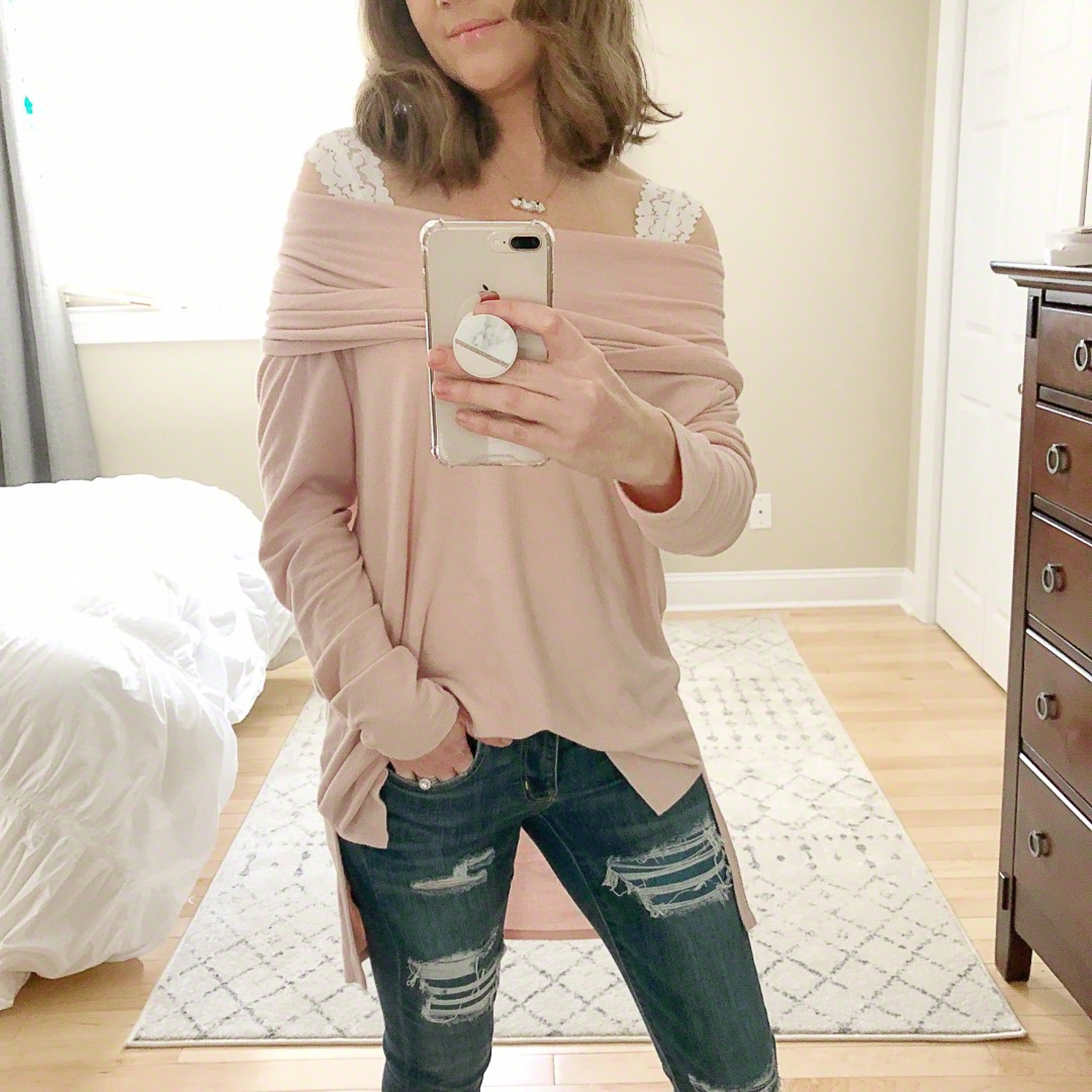 Outfits for Transitional Spring Weather, gibson-convertible-cowl-neck-off-the-shoulder-top-the-best-bralette-wide-straps-casual-mom-outfit