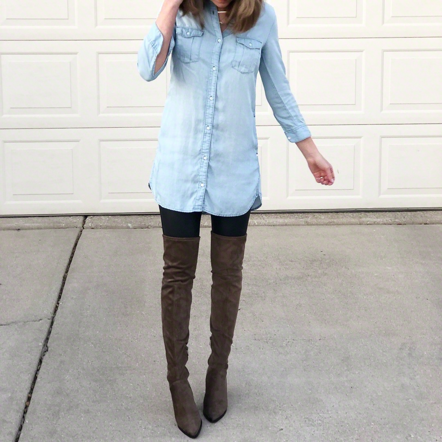 Outfits for Transitional Spring Weather, how-to-style-faux-leather-leggings-with-over-the-knee-boots