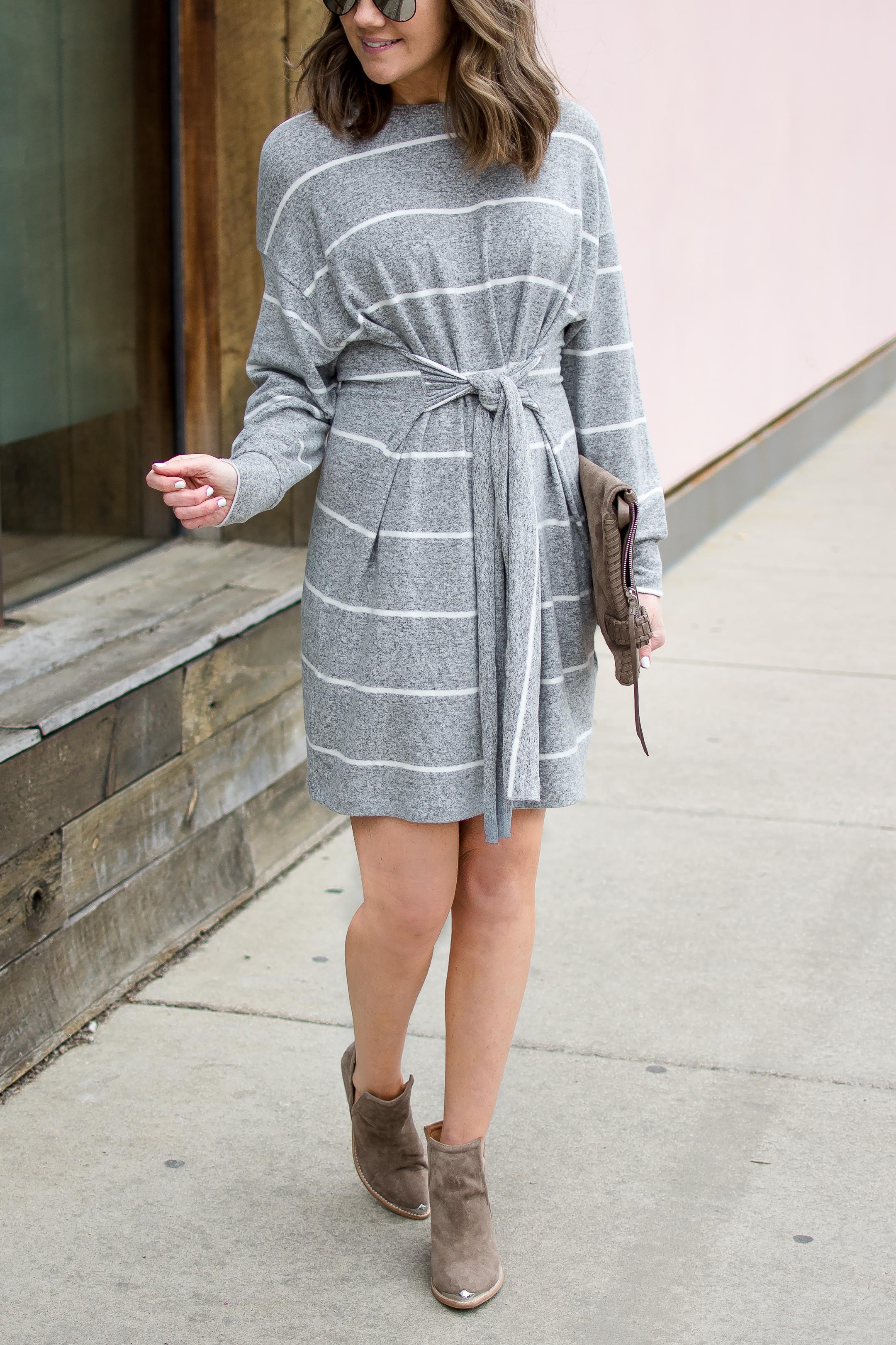 grey tie front dress, sweatshirt dress, the most flattering dress silhouette, spring neutrals, Topshop self tie sweater dress