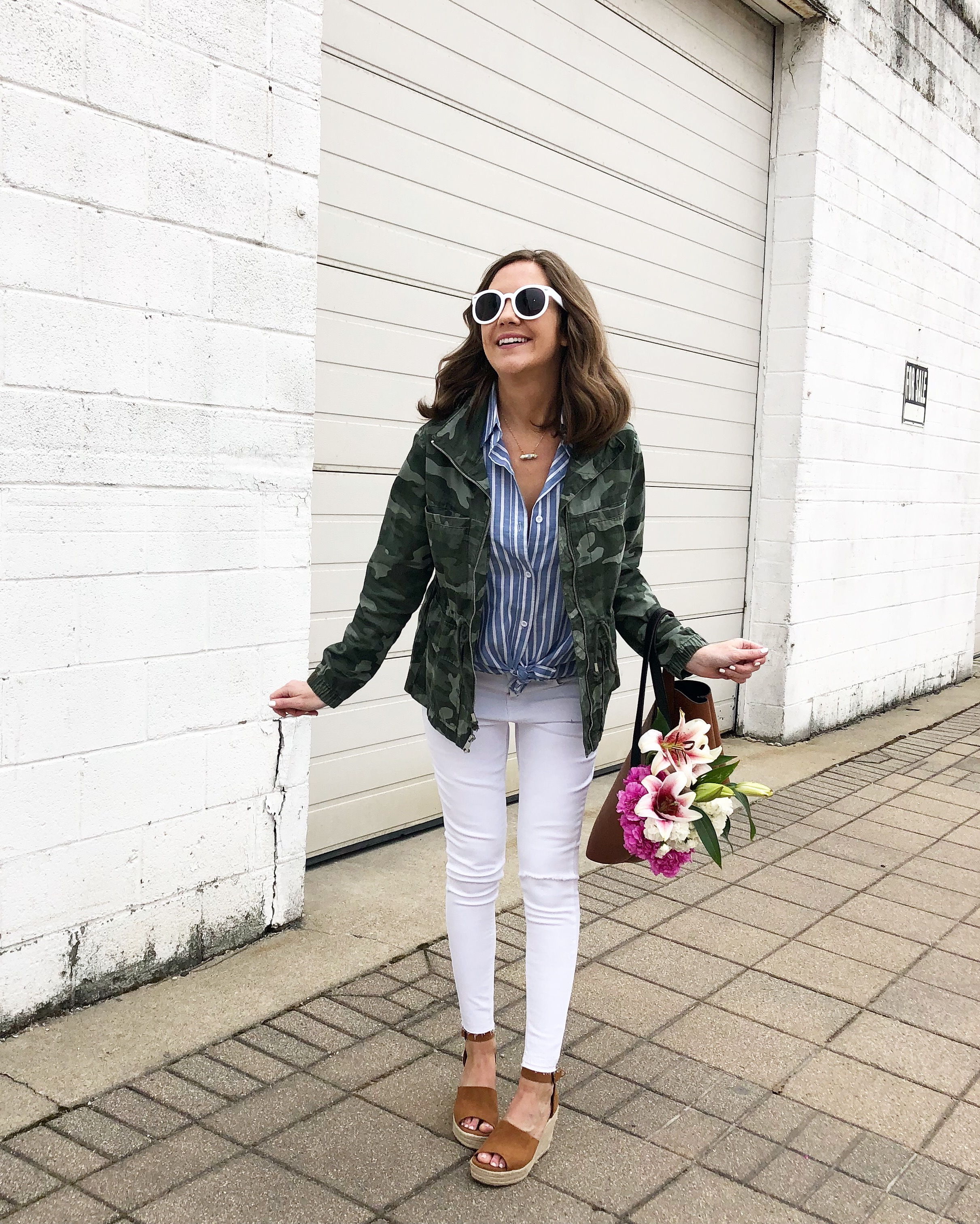 8 Must Have Summer Trends, blue and white stripes, camo print, print mixing