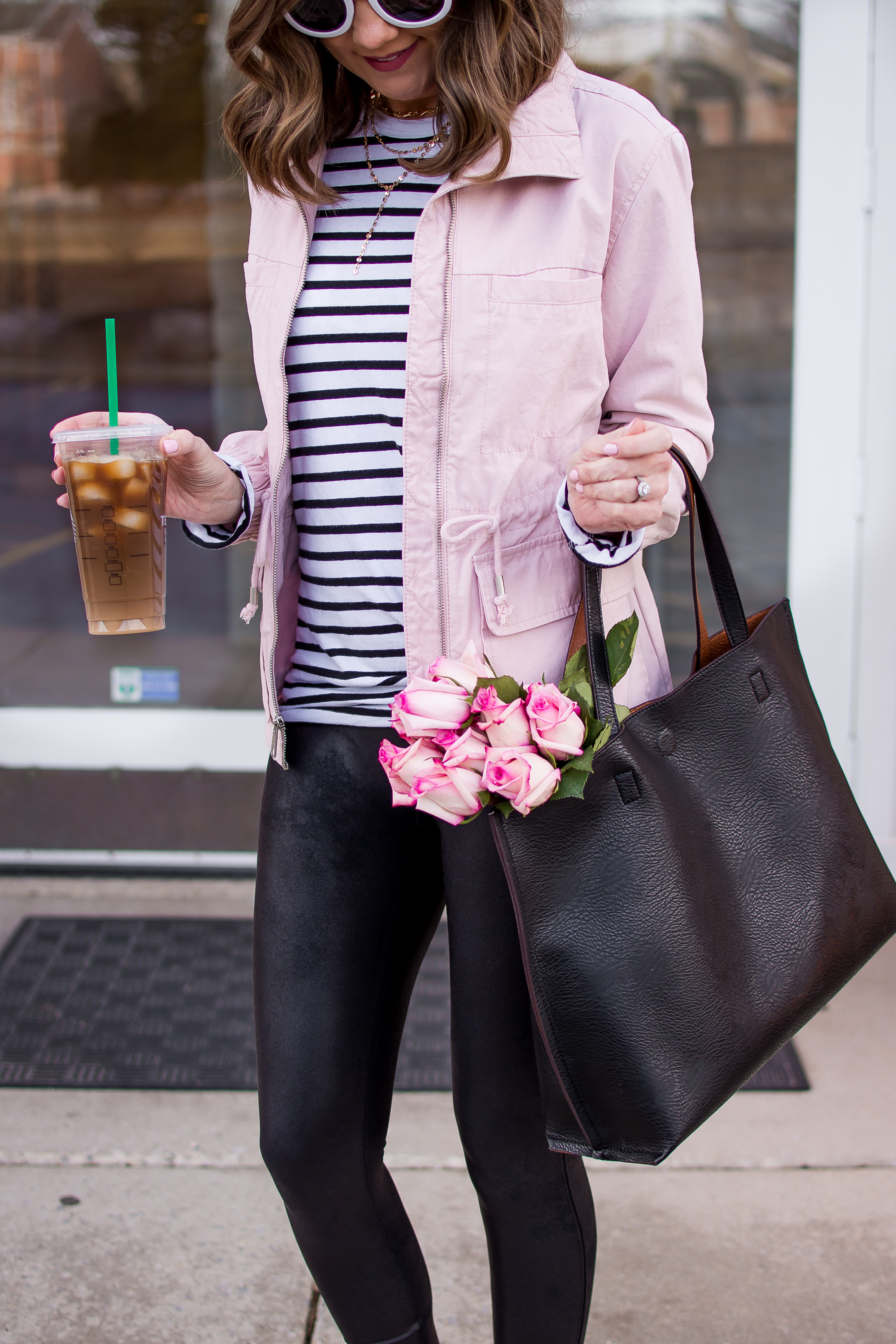 spring fashion 2018, old navy pink field jacket, how to style faux leather leggings as a mom, comfy and cute mom outfit, casual faux leather leggings outfit