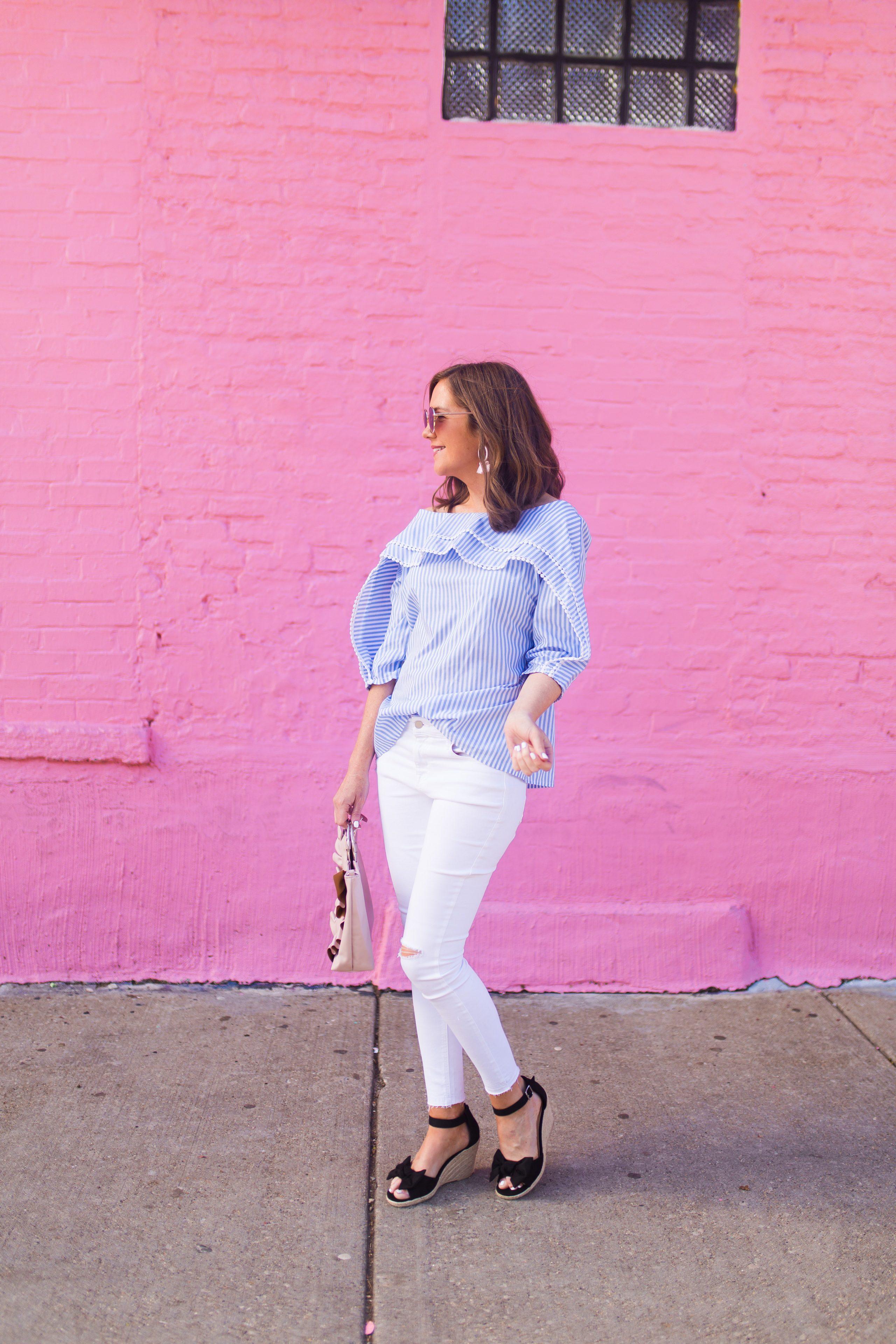 75b26d5e6697 blue white pinstriped off the shoulder blouse with mini pompom trim