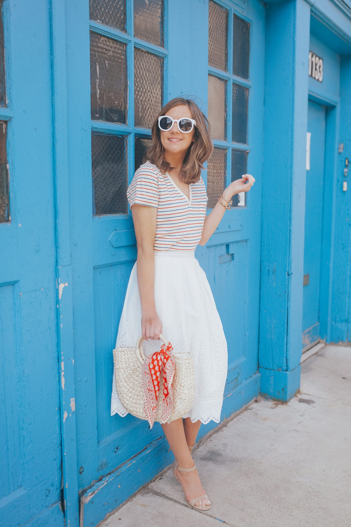 white eyelet midi skirt, eyelet and stripes, planning a day trip to western michigan, madewell whisper cotton v-neck tee