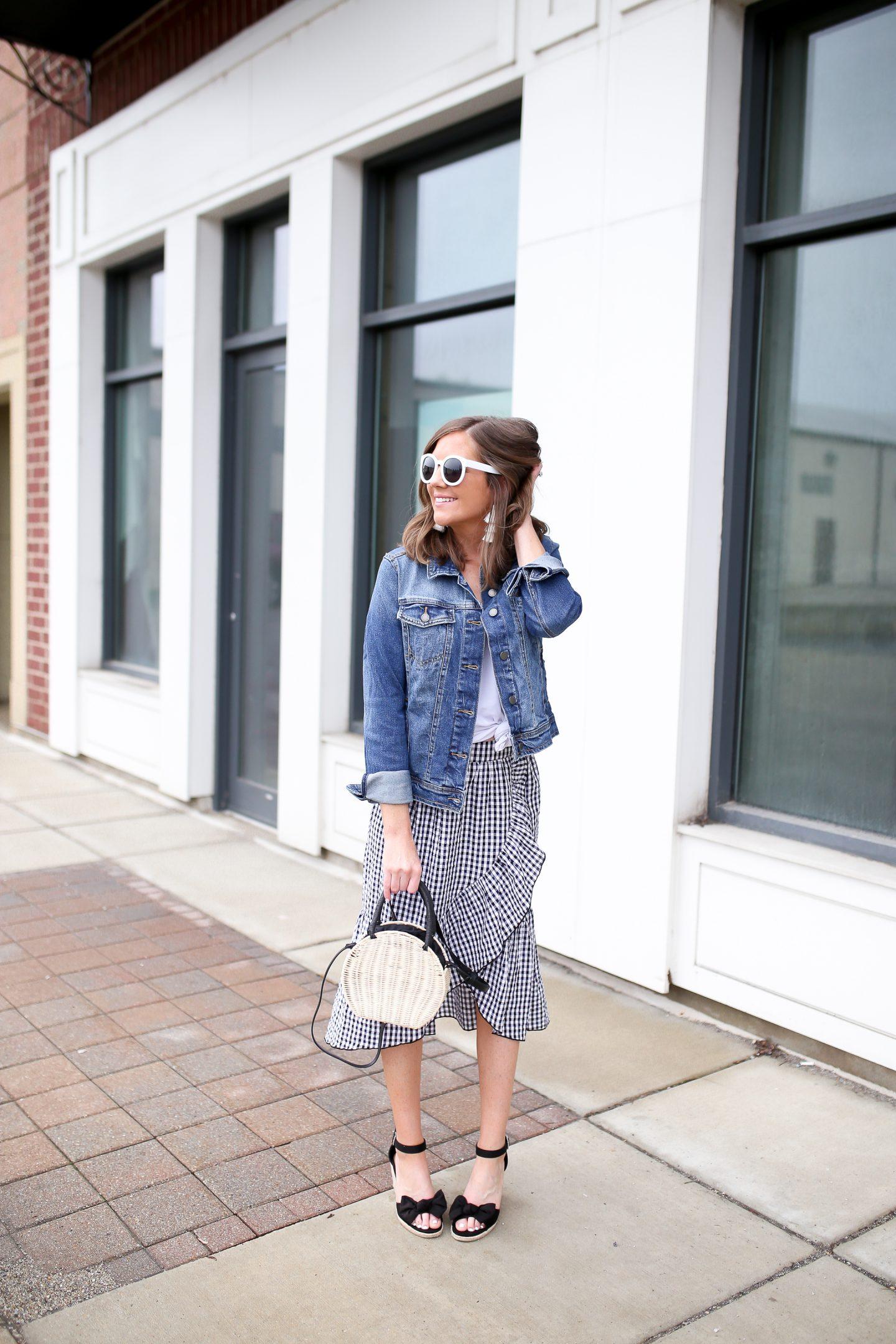 black and white ruffled gingham midi skirt, end-of summer bucket list