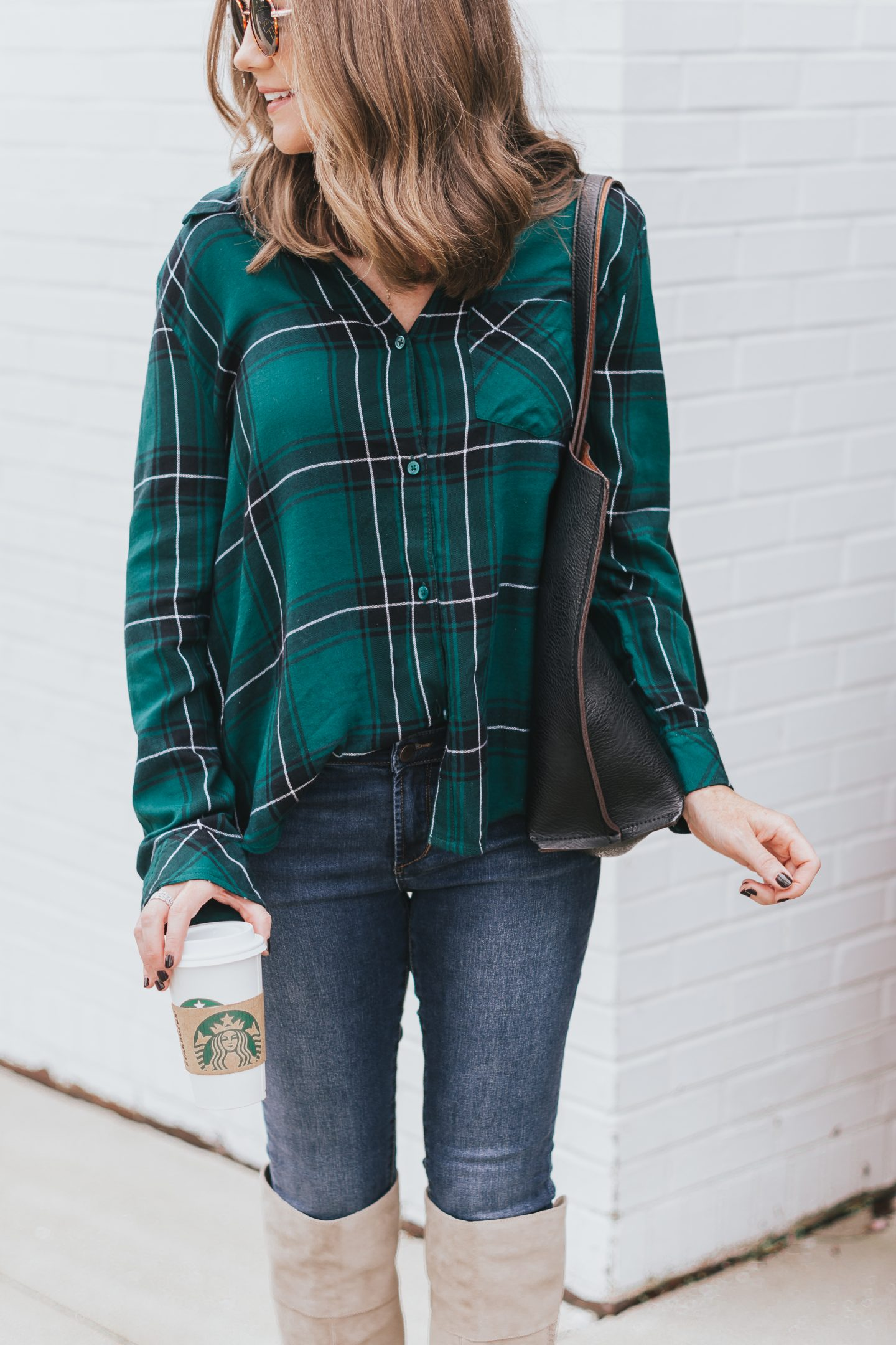 quintessential fall outfit, 9 fall essentials, 2018 fall fashion, plaid shirt, skinny jeans, over the knee boots