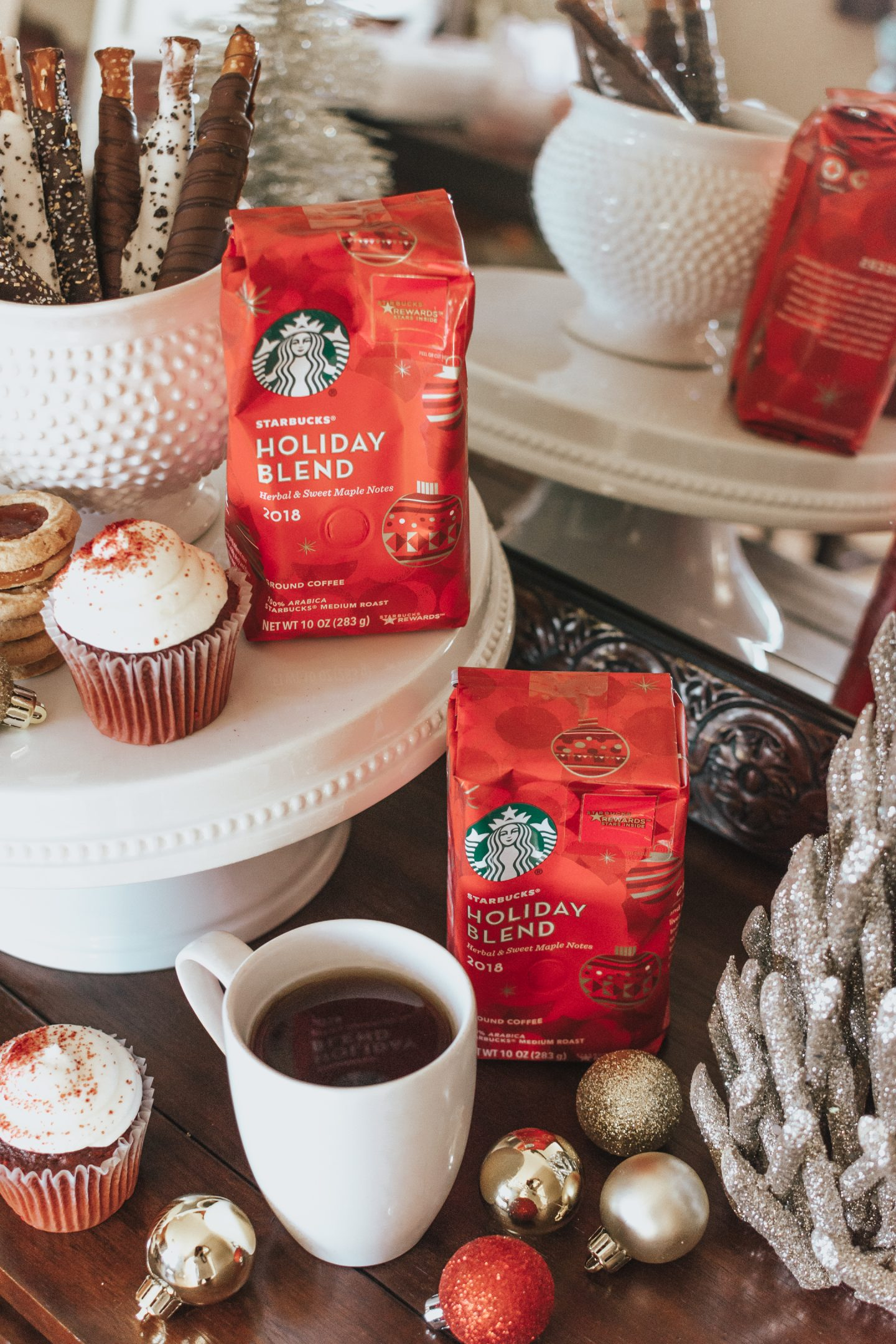 Holiday Coffee Station, Starbucks Holiday Blend, Entertaining During the Holidays, holiday themed coffee station, holiday coffee and dessert pairings