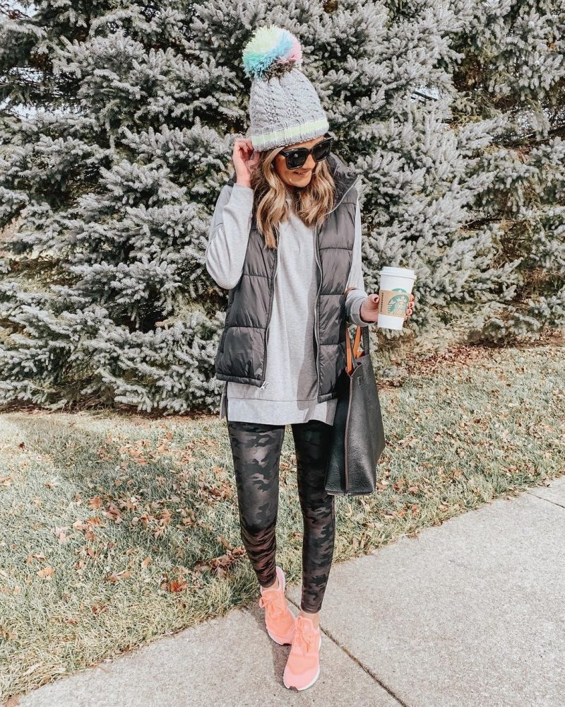 Amazon fashion, Amazon tunic top, puffer vest, Spanx camo leggings outfit, athleisure outfit