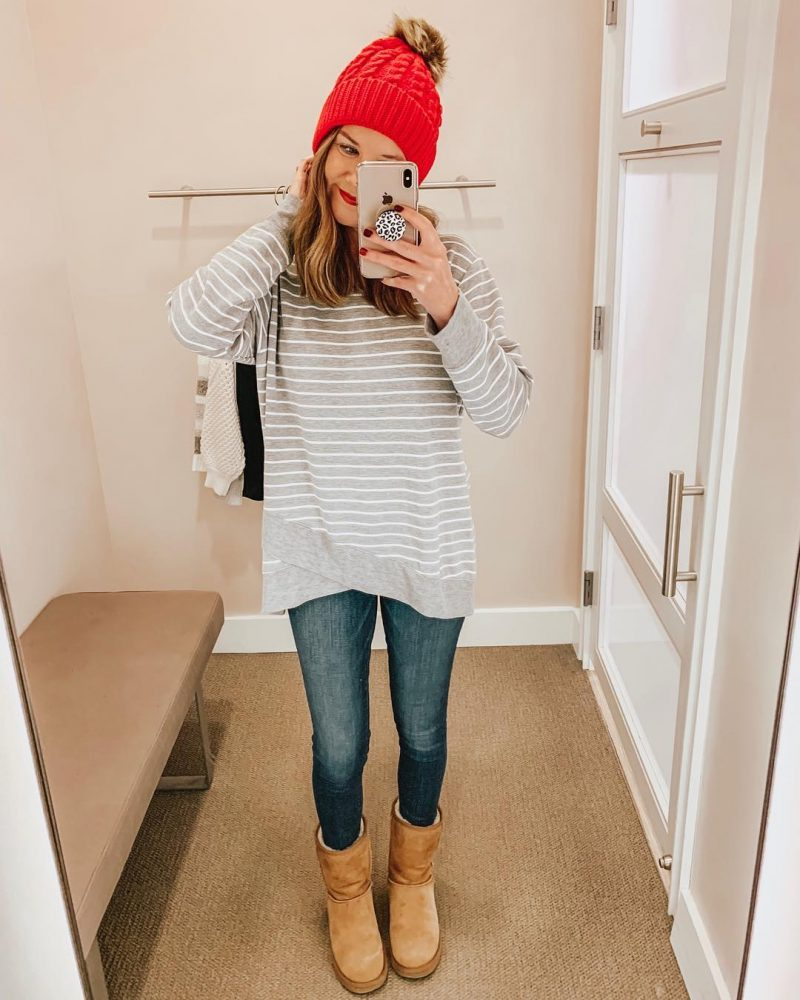 January's Top Ten, cross front sweatshirt, cute and cozy winter outfit, casual outfit, grey striped sweatshirt