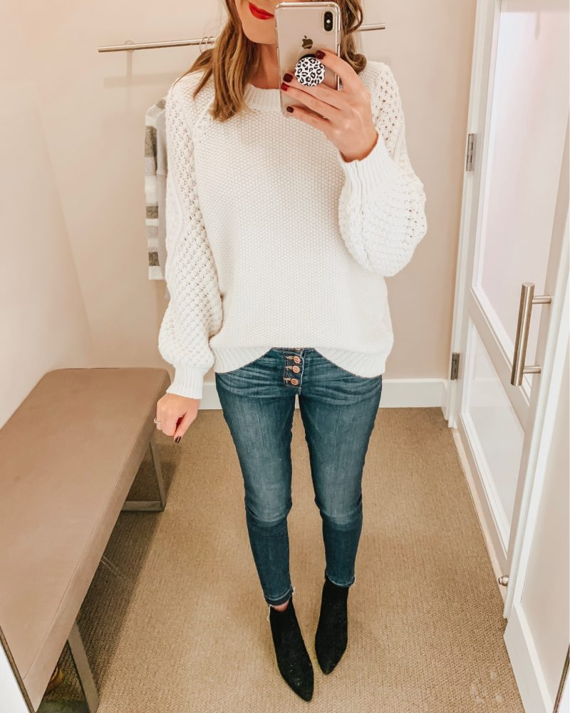 January's Top Ten, cute casual outfit, how to do a front tuck, loft sale, button fly skinny jeans