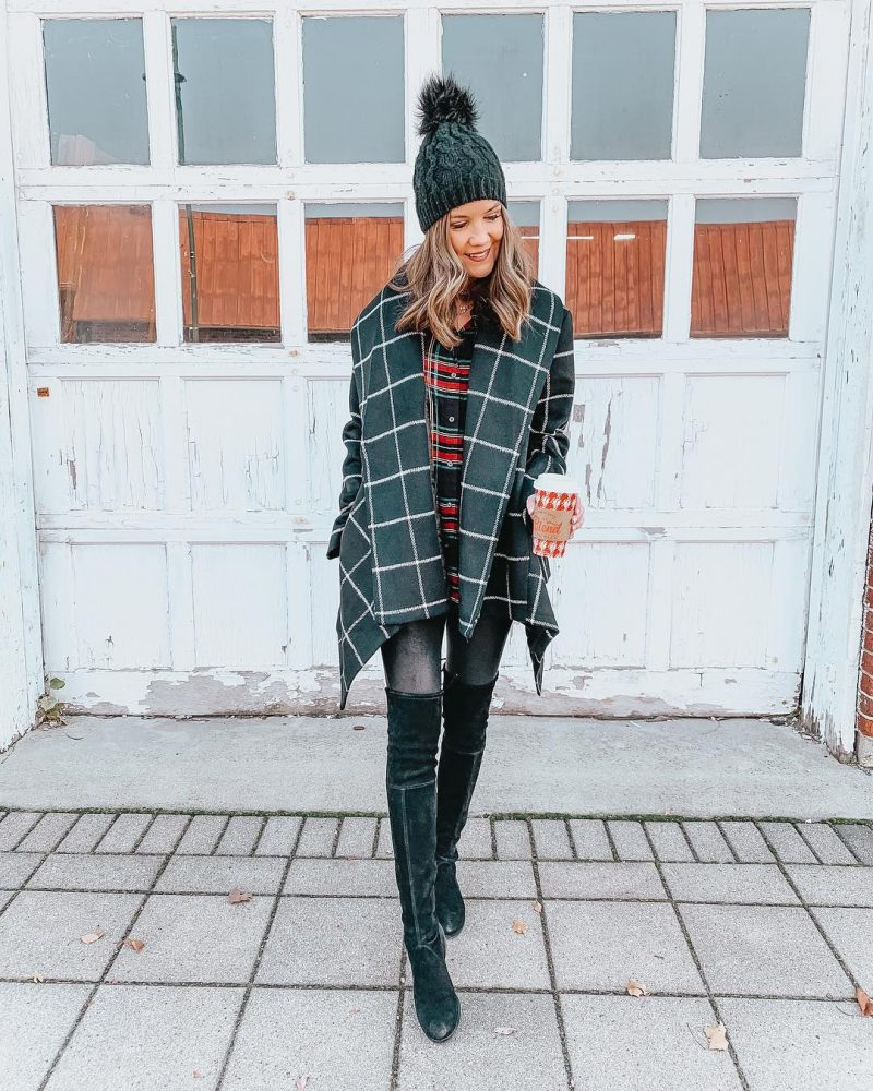grid-print-wrap-coat-faux-leather-leggings-leggings-outfit-over-the-knee-boots-stuart-weitzman-lowland-boots