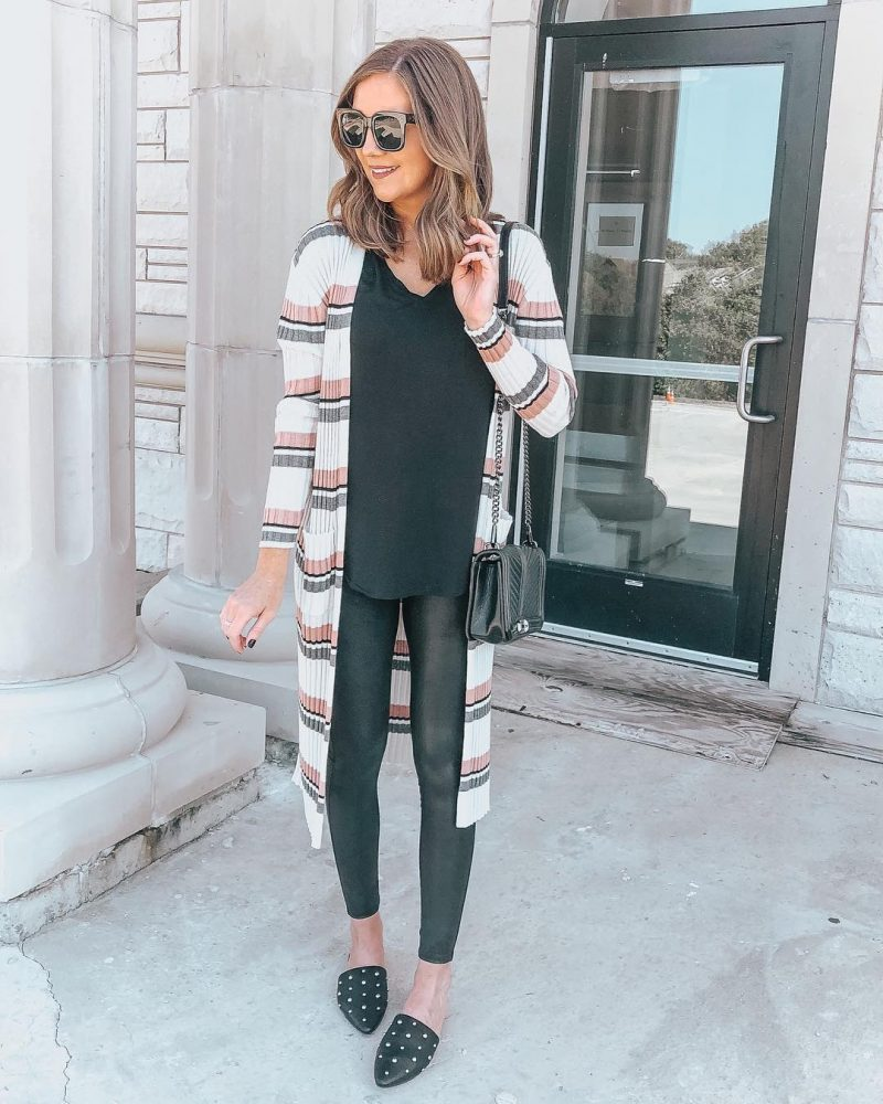 Ways to Style Leggings, long-cardigan-spanx-faux-leather-leggings-leggings-outfit-all-black-outfit-slimming-outfit