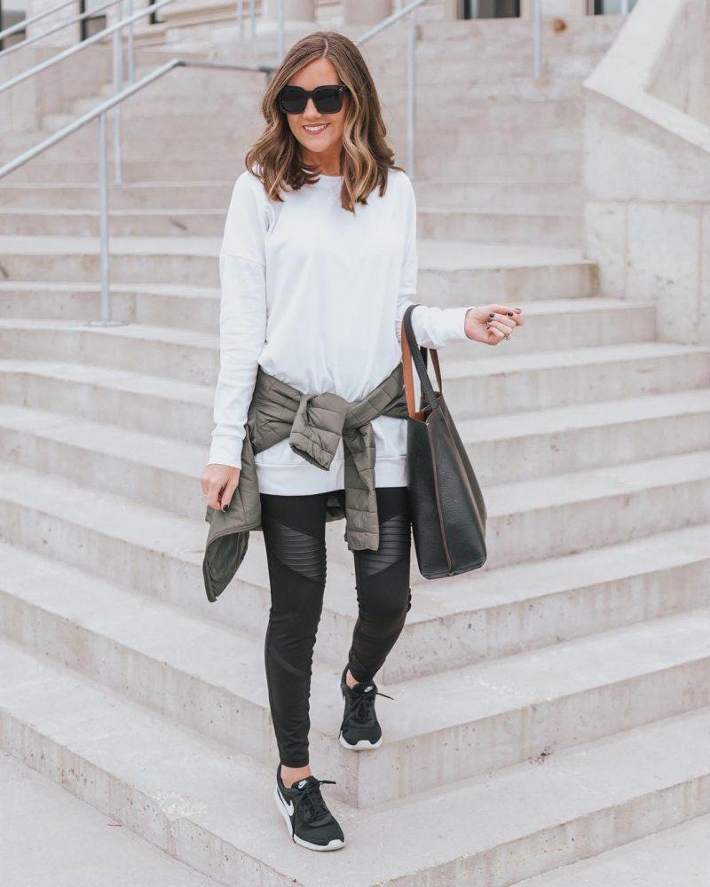Ways to Style Leggings, moto-leggings-amazon-tunic-tee-amazon-fashion-finds-athleisure-outfit-leggings-outfit