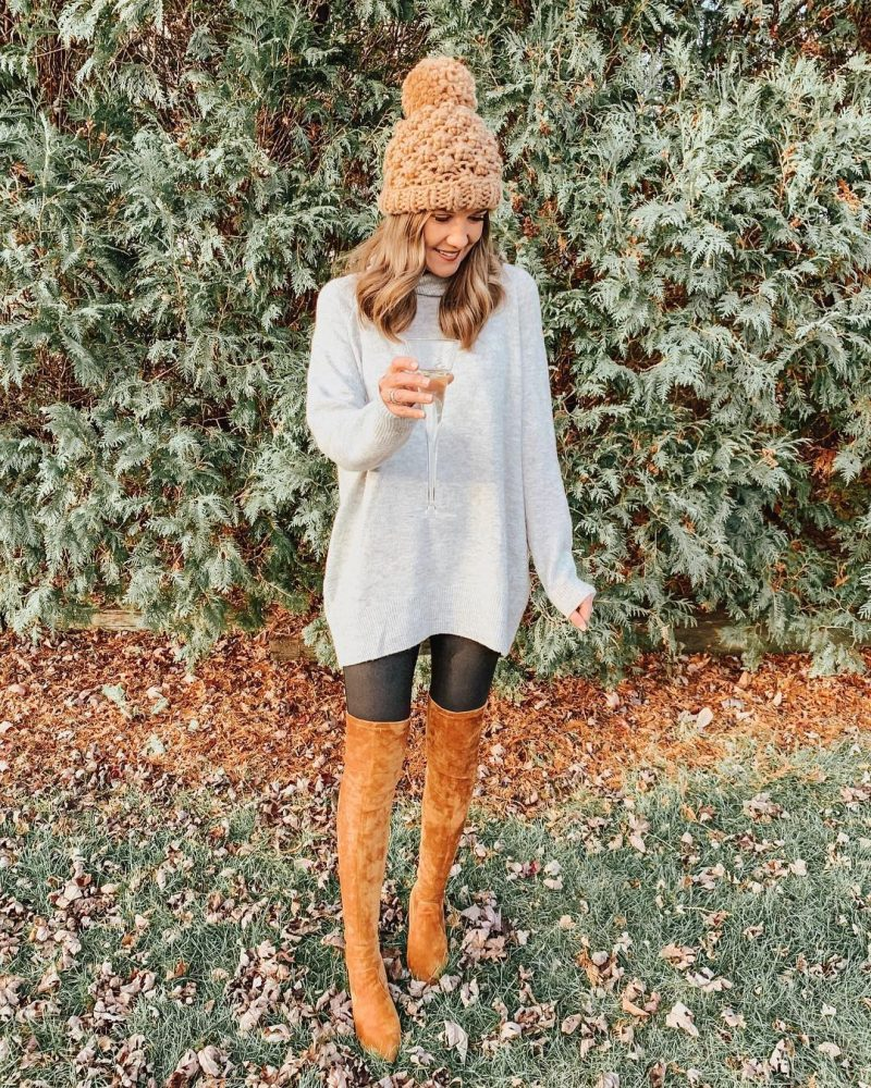 Ways to Style Leggings, tunic-sweater-faux-leather-leggings-leggings-outfit-goodnight-macaroon-over-the-knee-boots