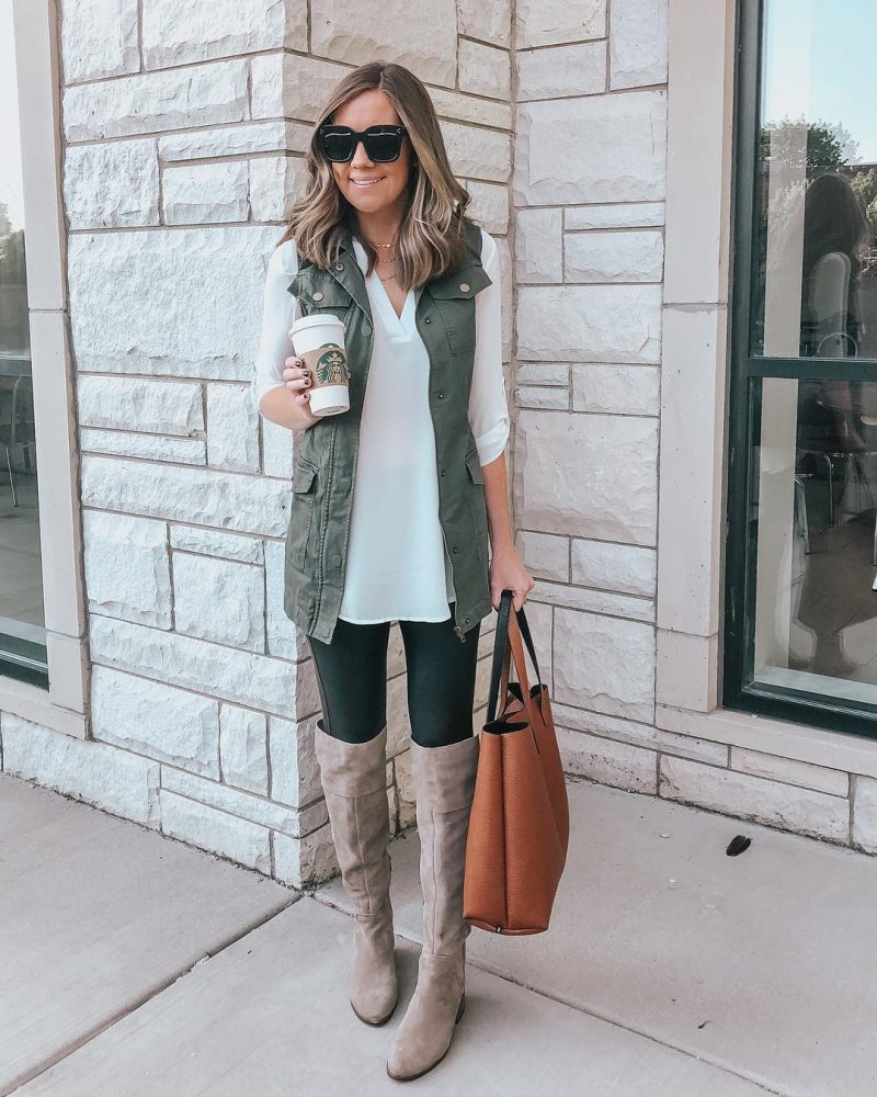 Ways to Style Leggings, utility-vest-leggings-outfit-tunic-blouse-vince-camuto-over-the-knee-boots-easy-and-cute-outfit